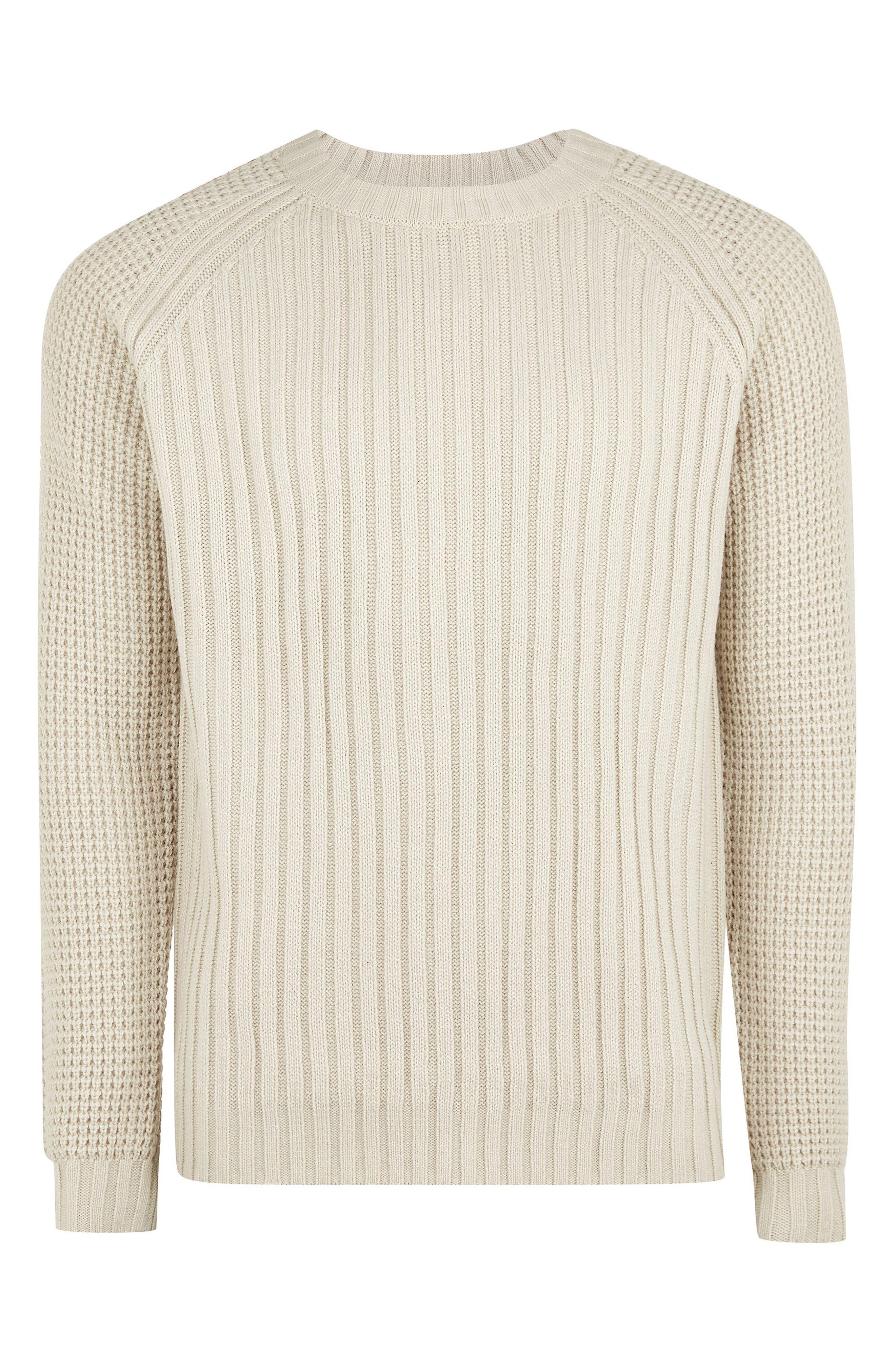 Mixed Stitch Classic Crewneck Sweater,                             Alternate thumbnail 4, color,                             STONE