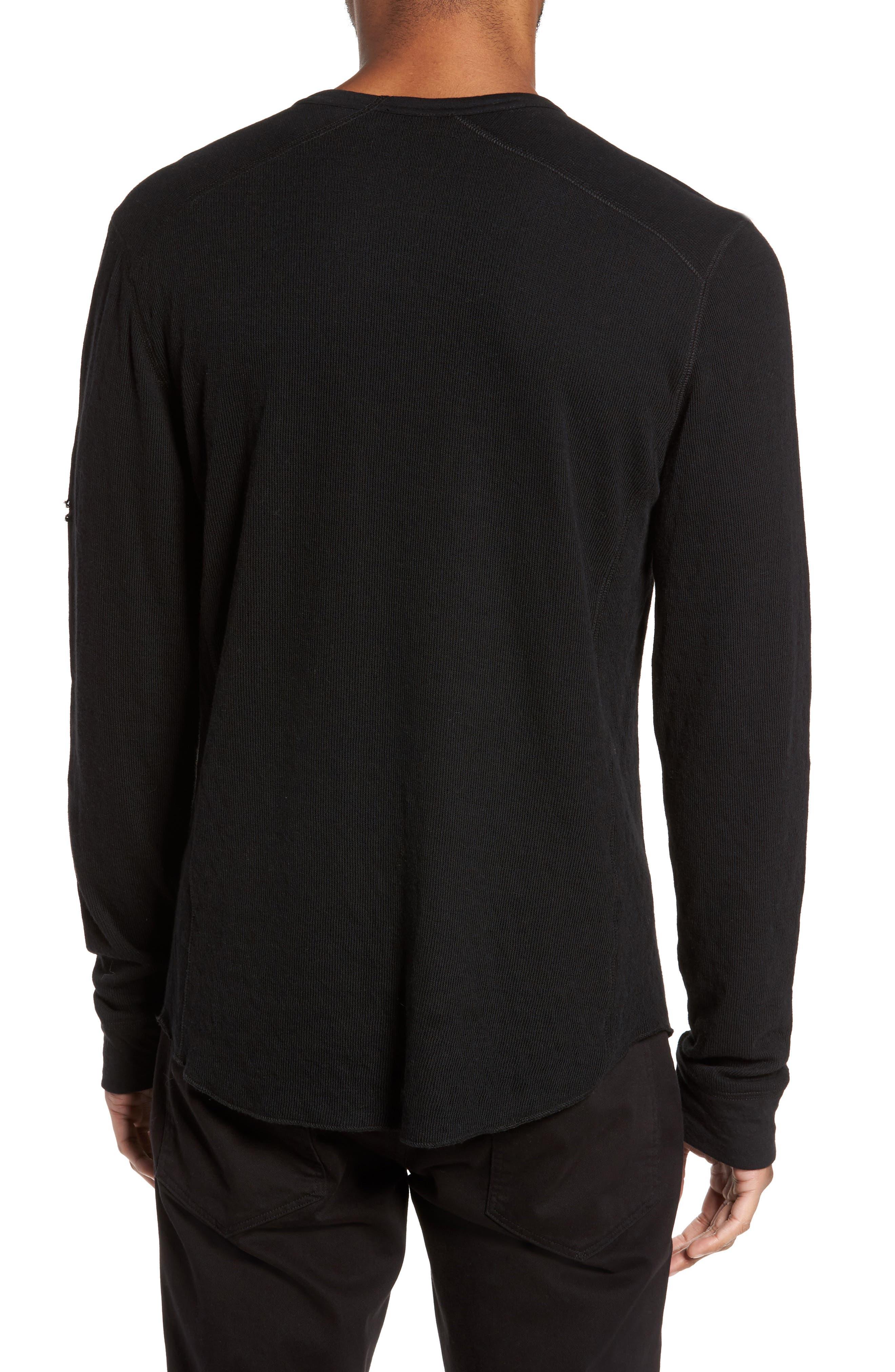 Double Knit Long Sleeve T-Shirt,                             Alternate thumbnail 2, color,                             BLACK