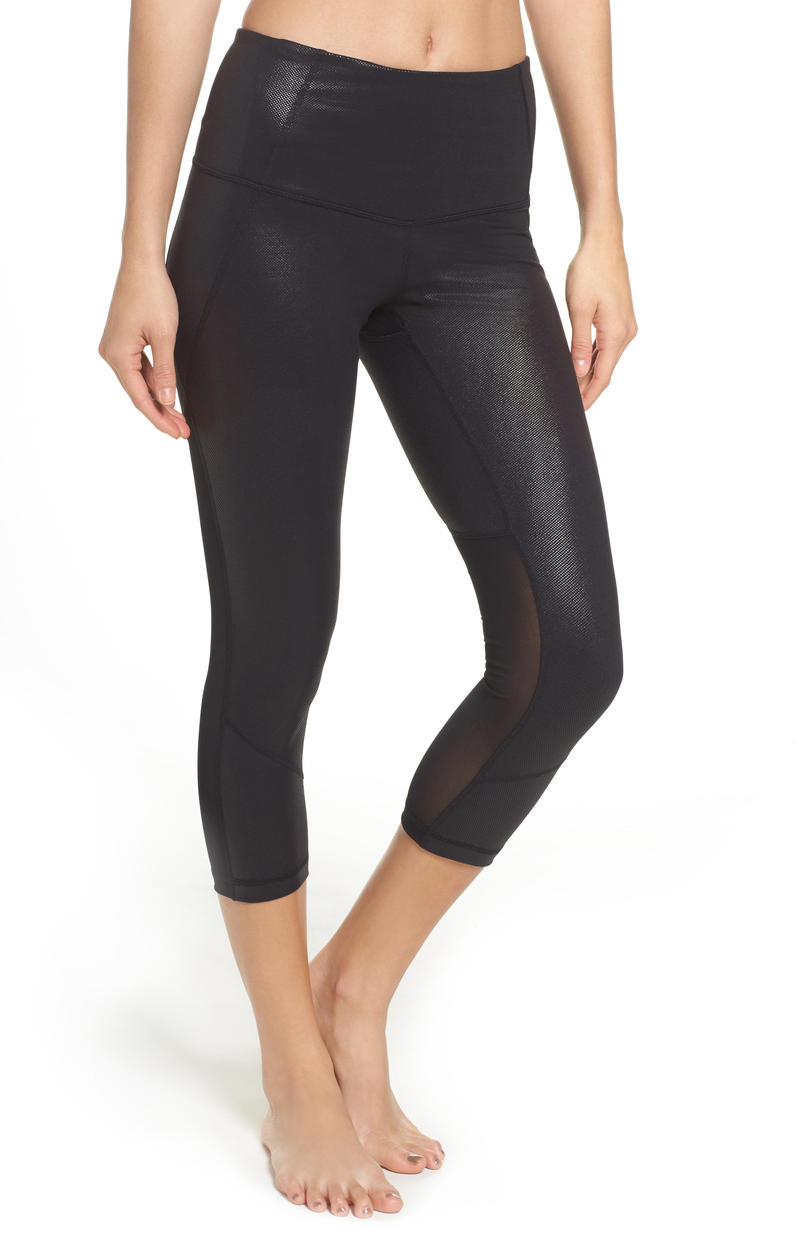 'Live In - Sultry' High Waist Mesh Crop Leggings,                             Main thumbnail 7, color,