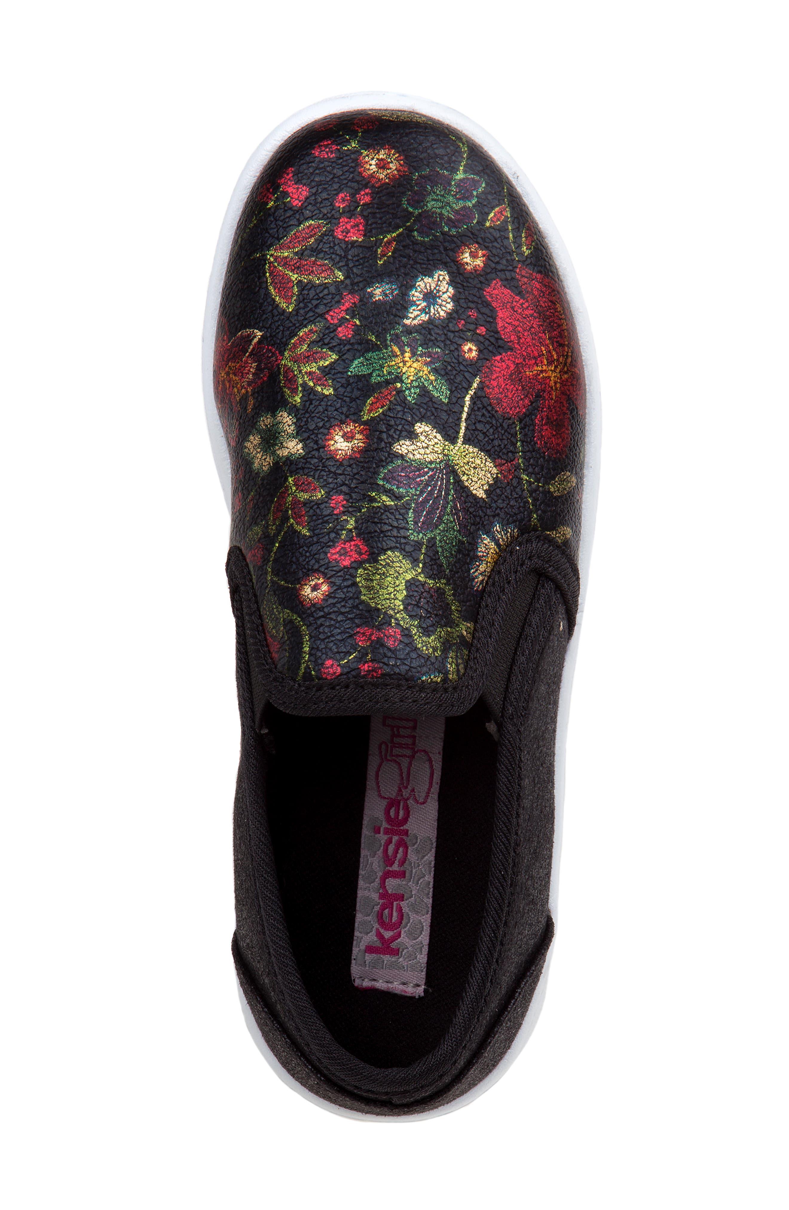 Floral Slip-On Sneaker,                             Alternate thumbnail 4, color,                             BLACK