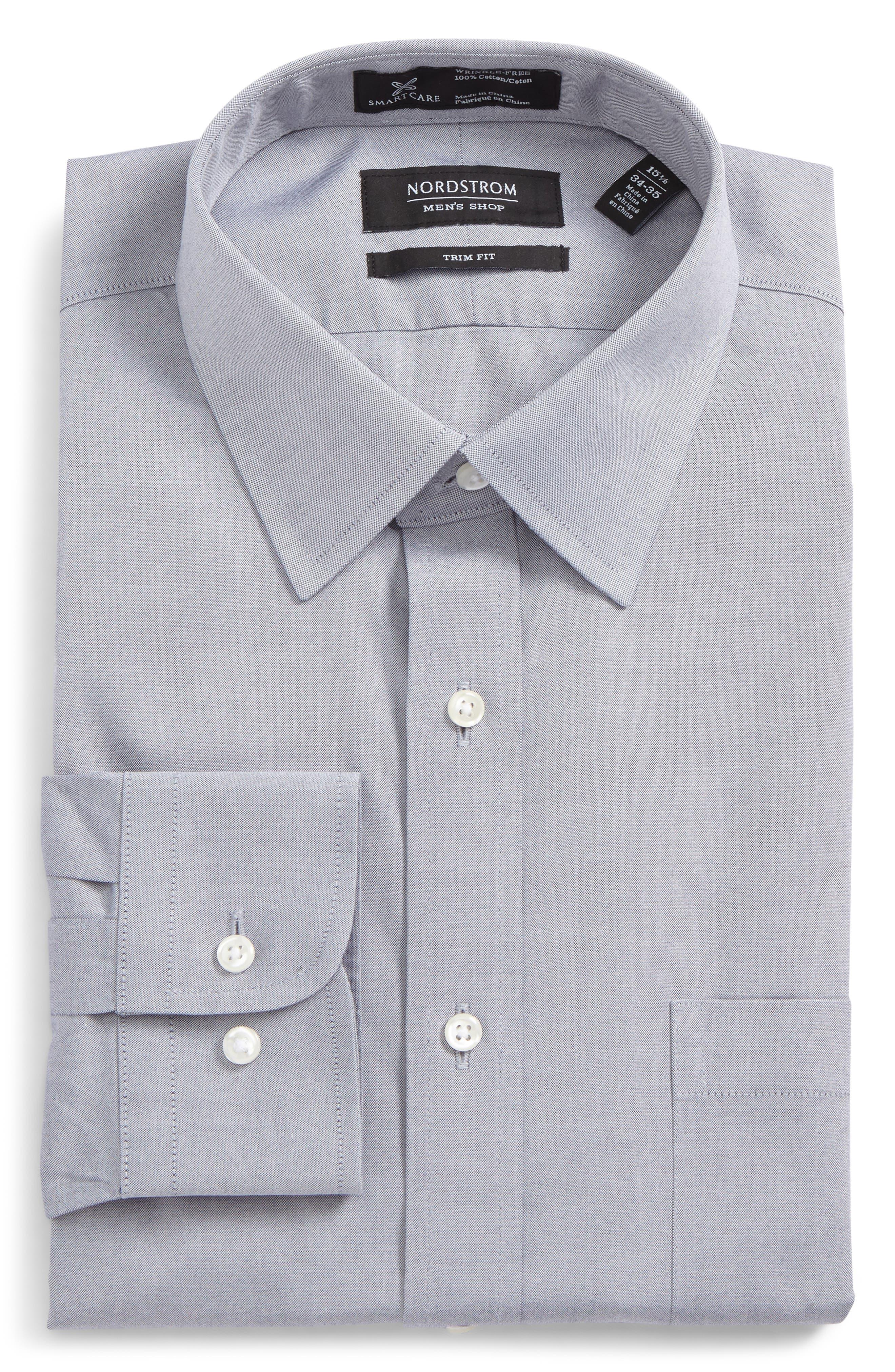 Smartcare<sup>™</sup> Trim Fit Solid Dress Shirt,                         Main,                         color, NAVY- PATRIOT
