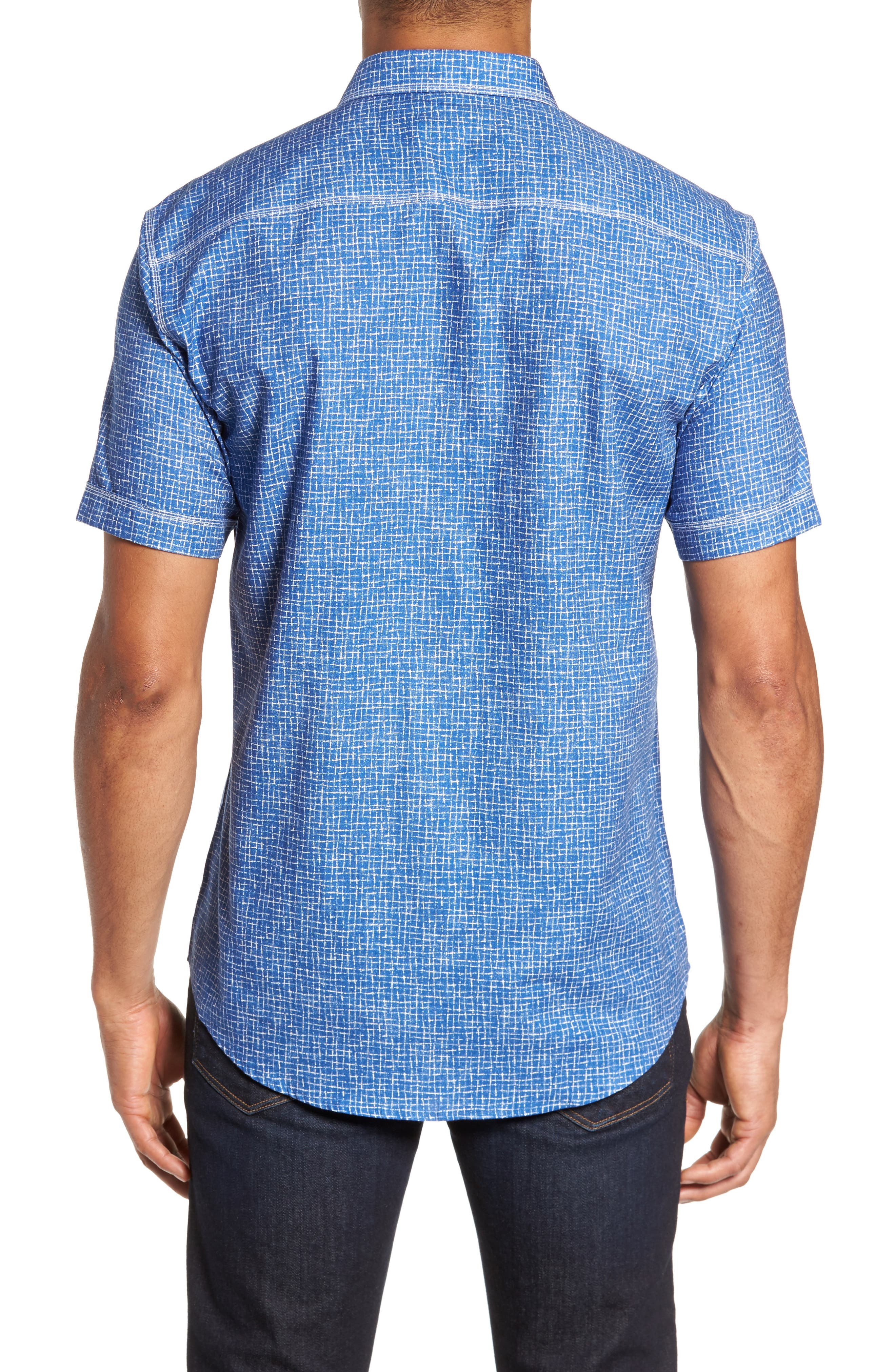 Shaped Fit Print Sport Shirt,                             Alternate thumbnail 2, color,                             300