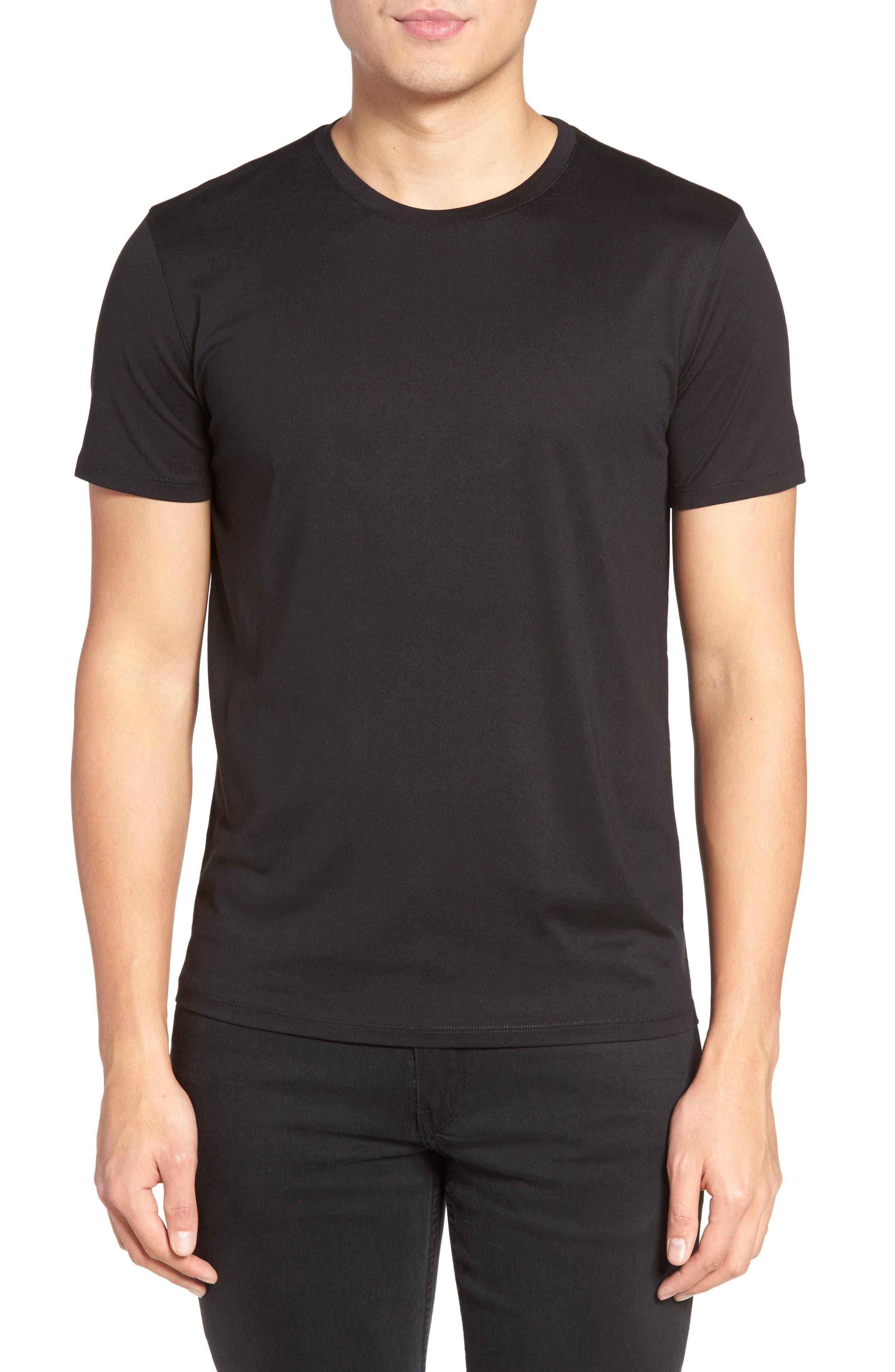Silk & Cotton Crewneck T-Shirt,                         Main,                         color, 001