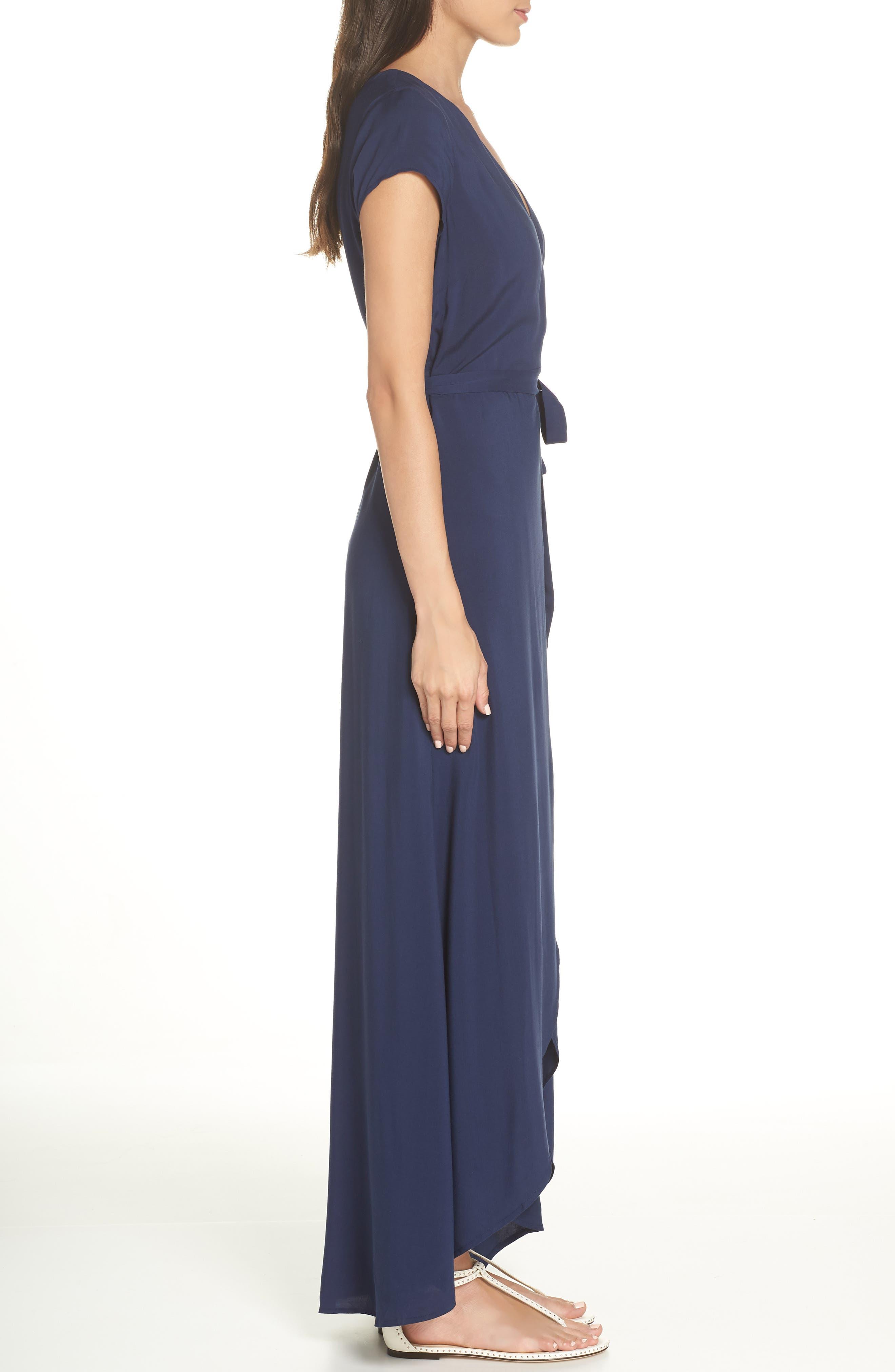 Goa Cover-Up Maxi Wrap Dress,                             Alternate thumbnail 3, color,                             MIDNIGHT BLUE