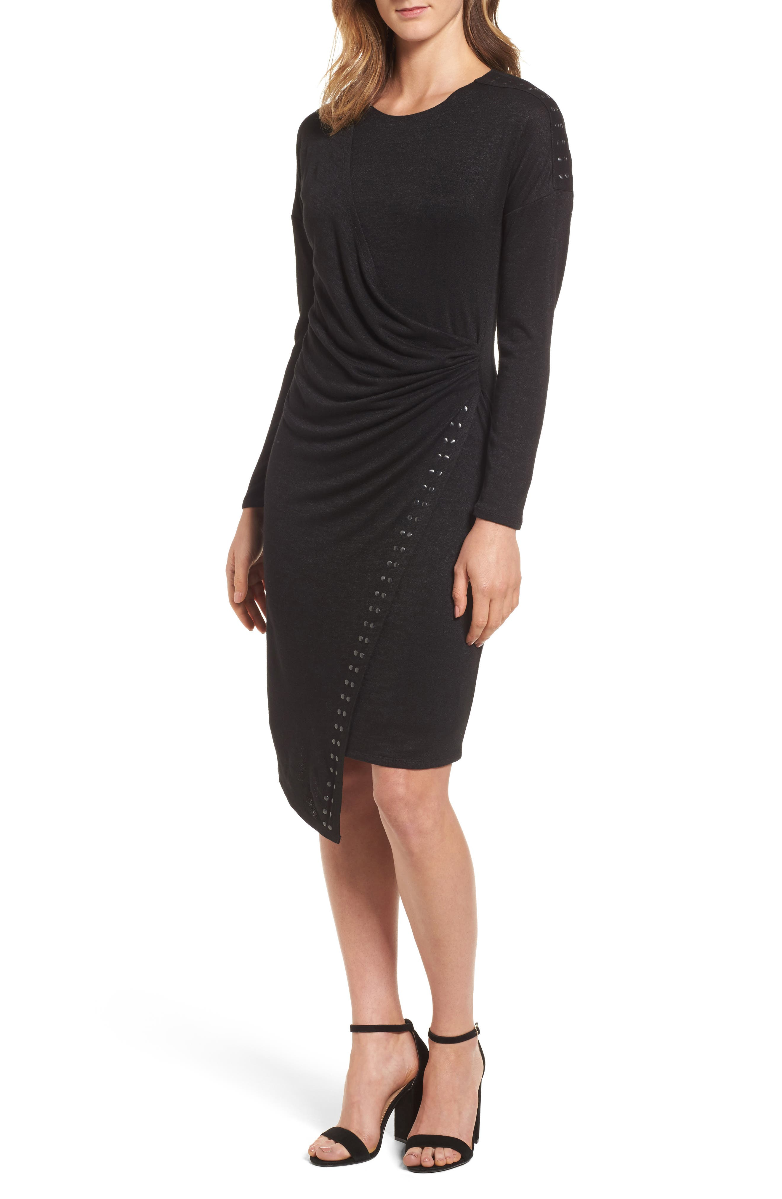 Studded Every Occasion Dress,                             Main thumbnail 1, color,                             BLACK ONYX