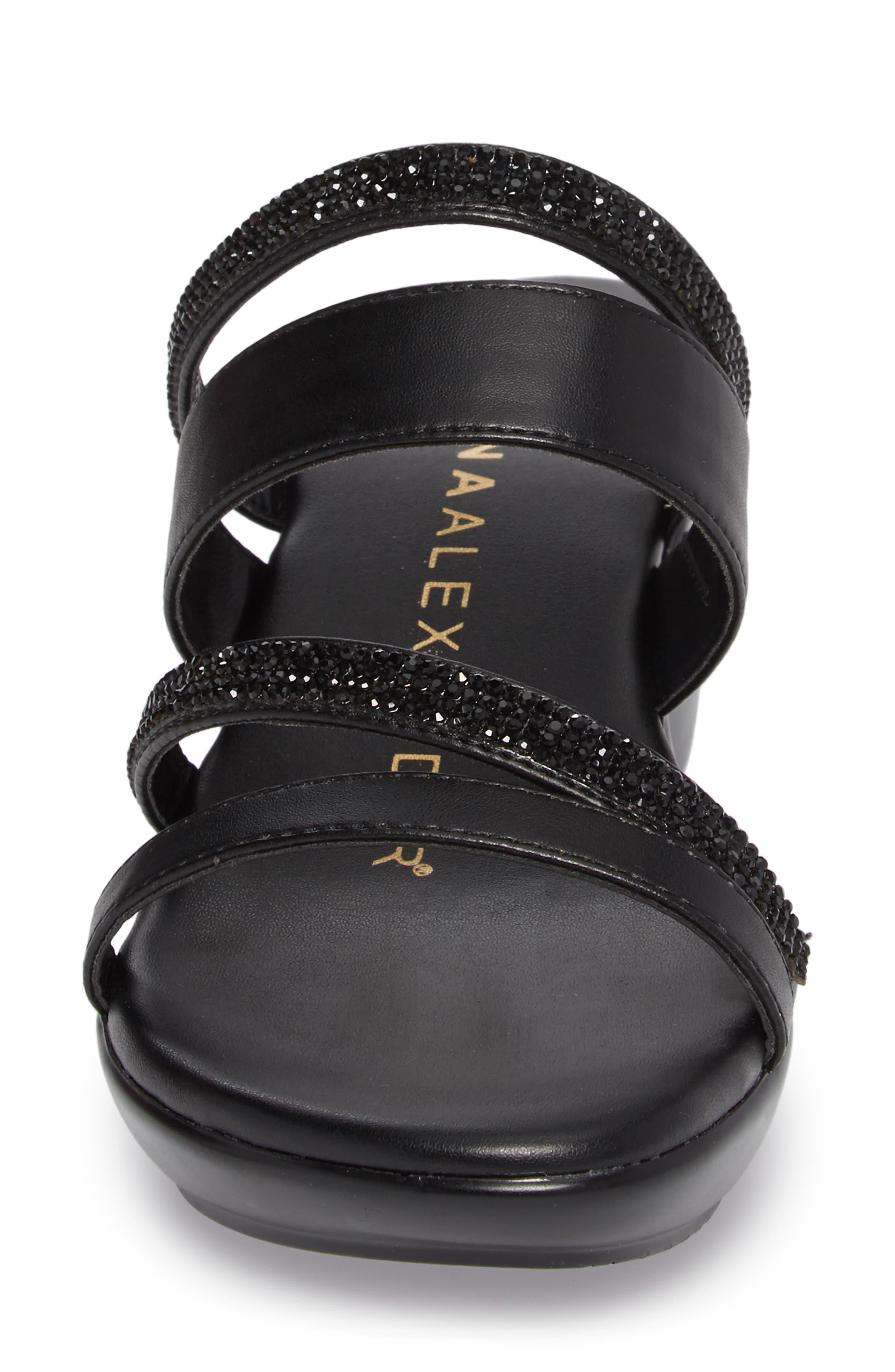 Kozima Embellished Sandal,                             Alternate thumbnail 4, color,                             BLACK FABRIC