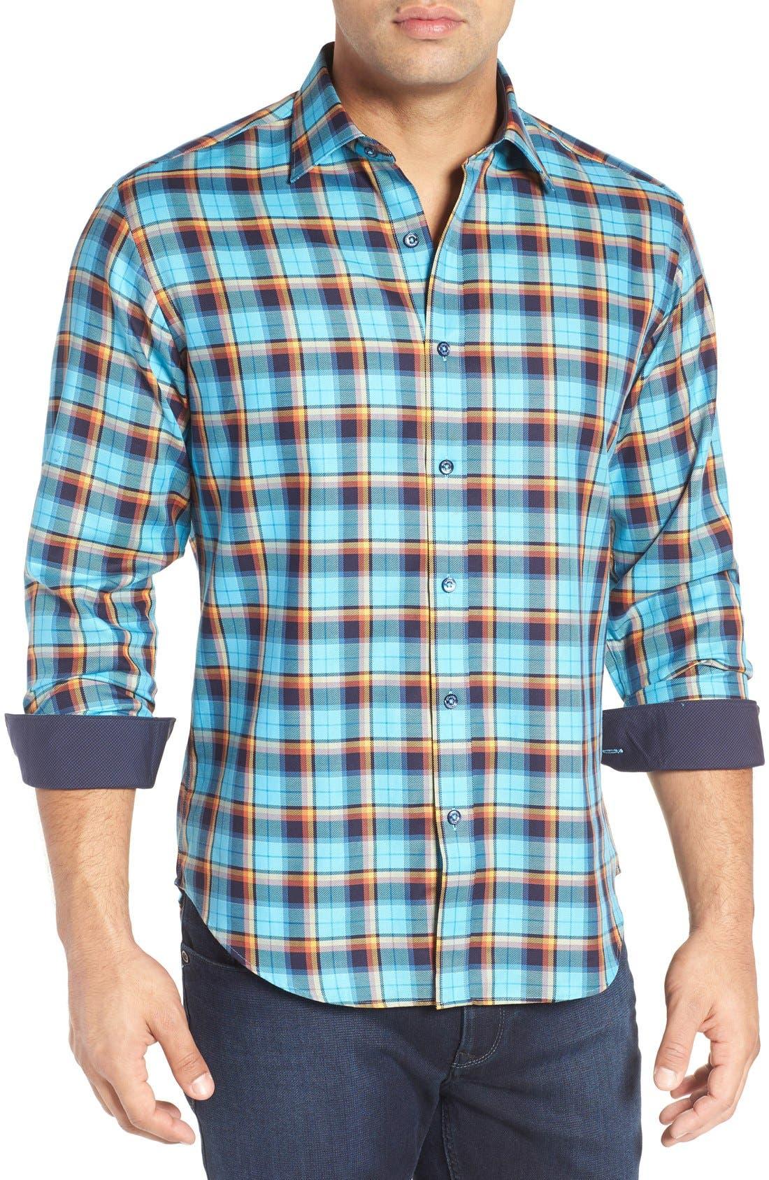 Shaped Fit Plaid Sport Shirt,                         Main,                         color, 425