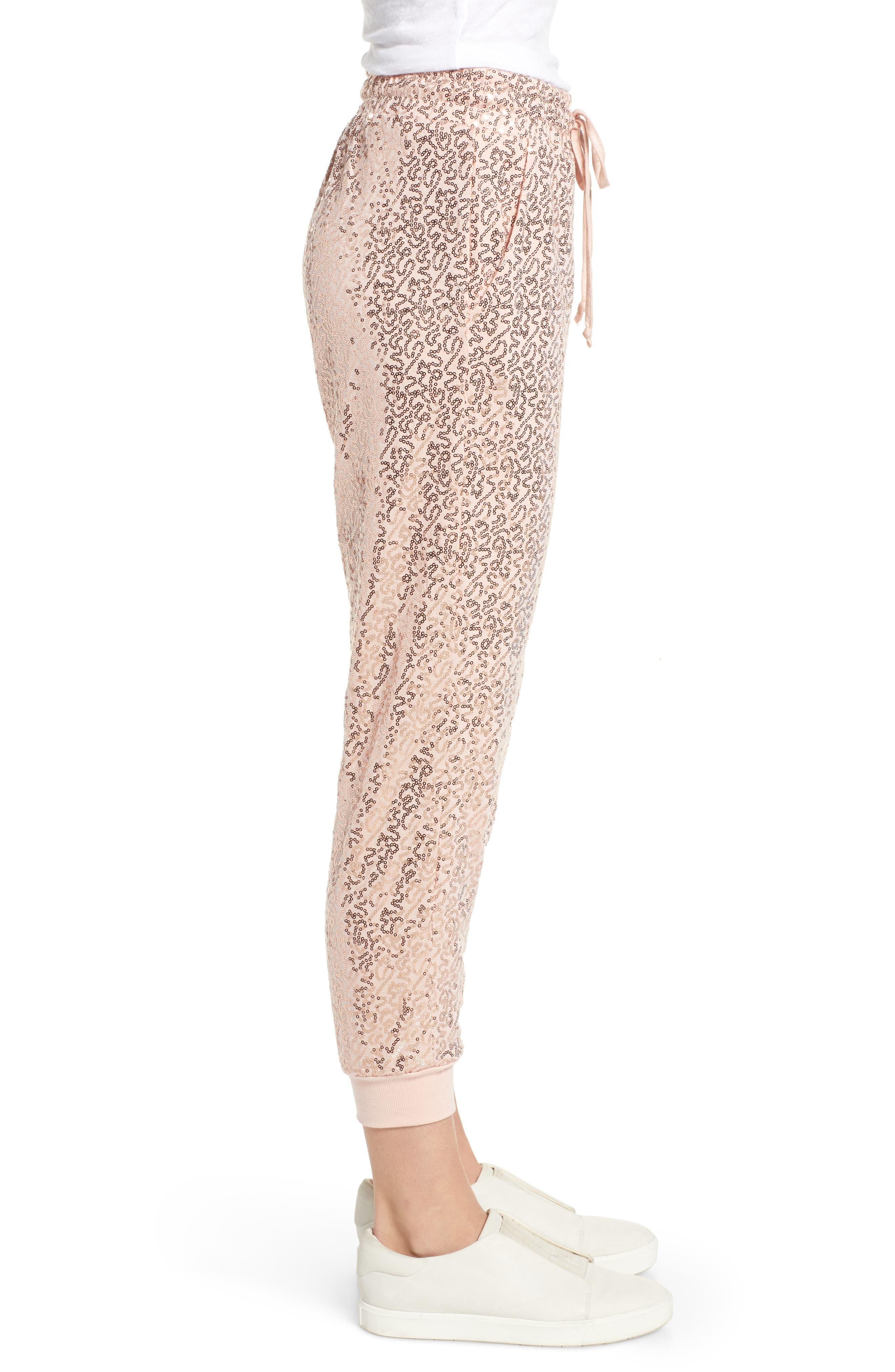 x Glam Squad Ashley Sequin Jogger Pants,                             Alternate thumbnail 4, color,                             ROSE GOLD