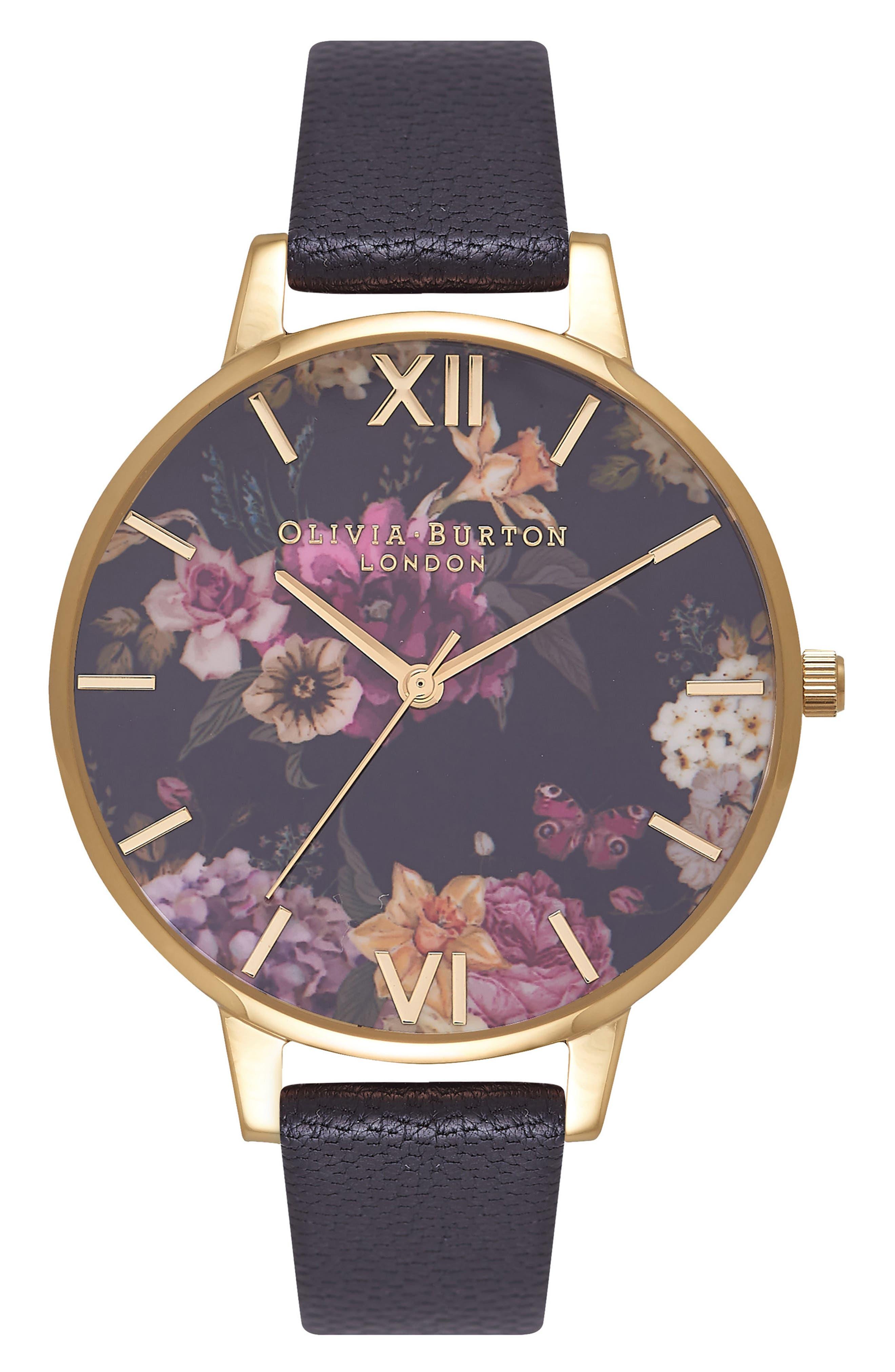 OLIVIA BURTON,                             Dark Bouquet Leather Strap Watch, 38mm,                             Main thumbnail 1, color,                             001
