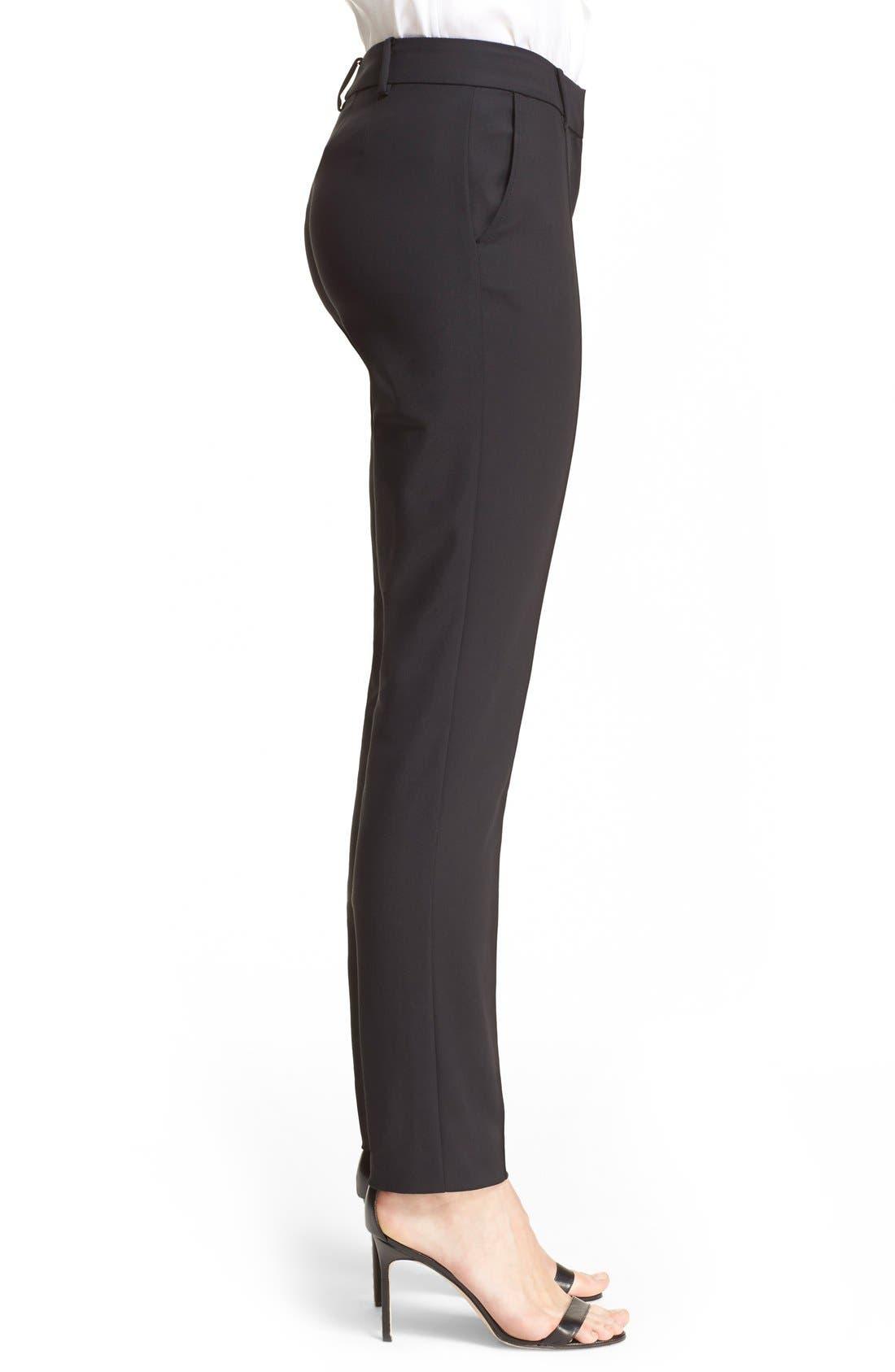 'Jennifer' Stretch Micro Ottoman Ankle Pants,                             Alternate thumbnail 3, color,                             CAVIAR
