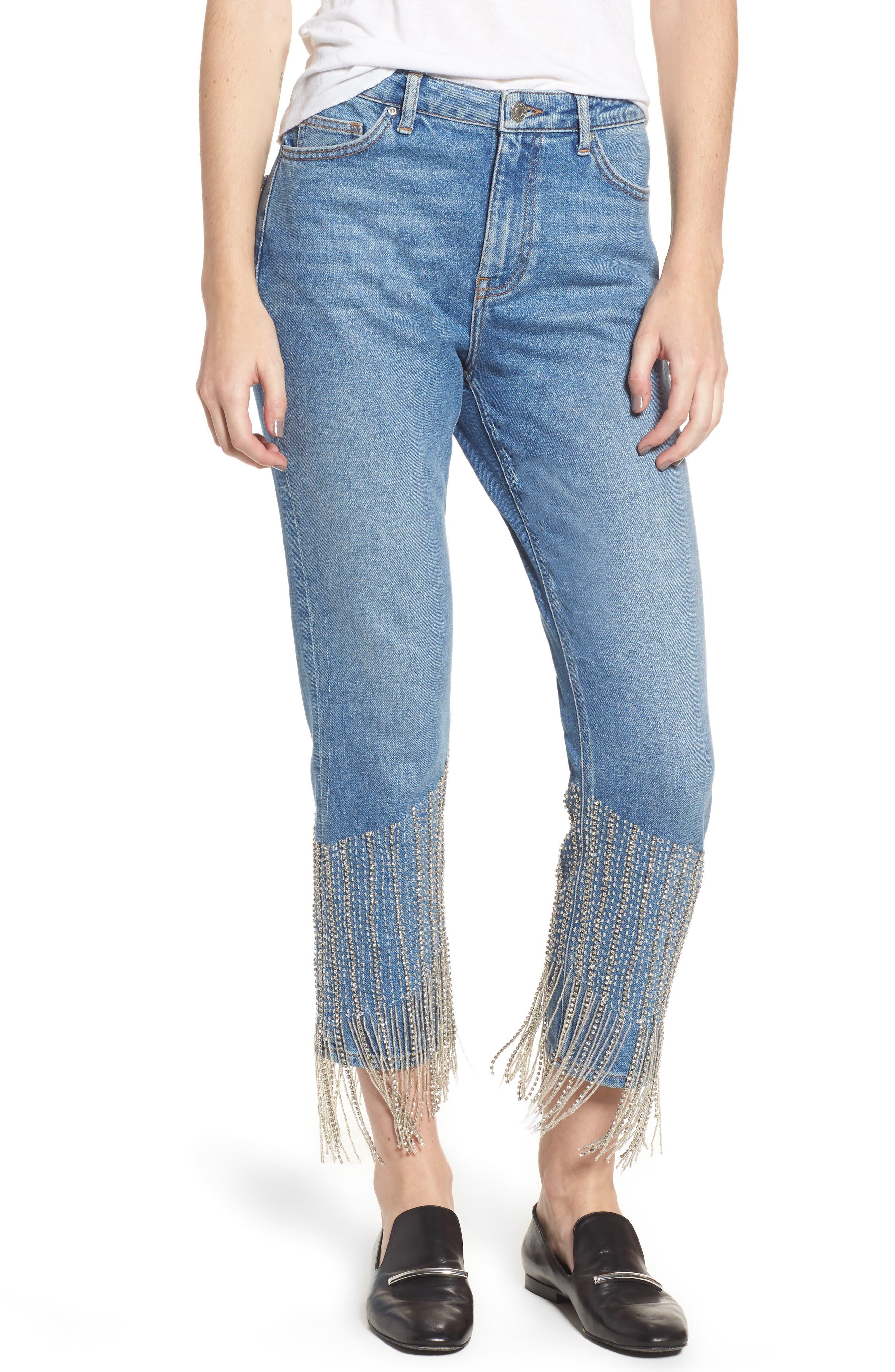 Crystal Embellished Moto Jeans,                             Main thumbnail 1, color,                             400