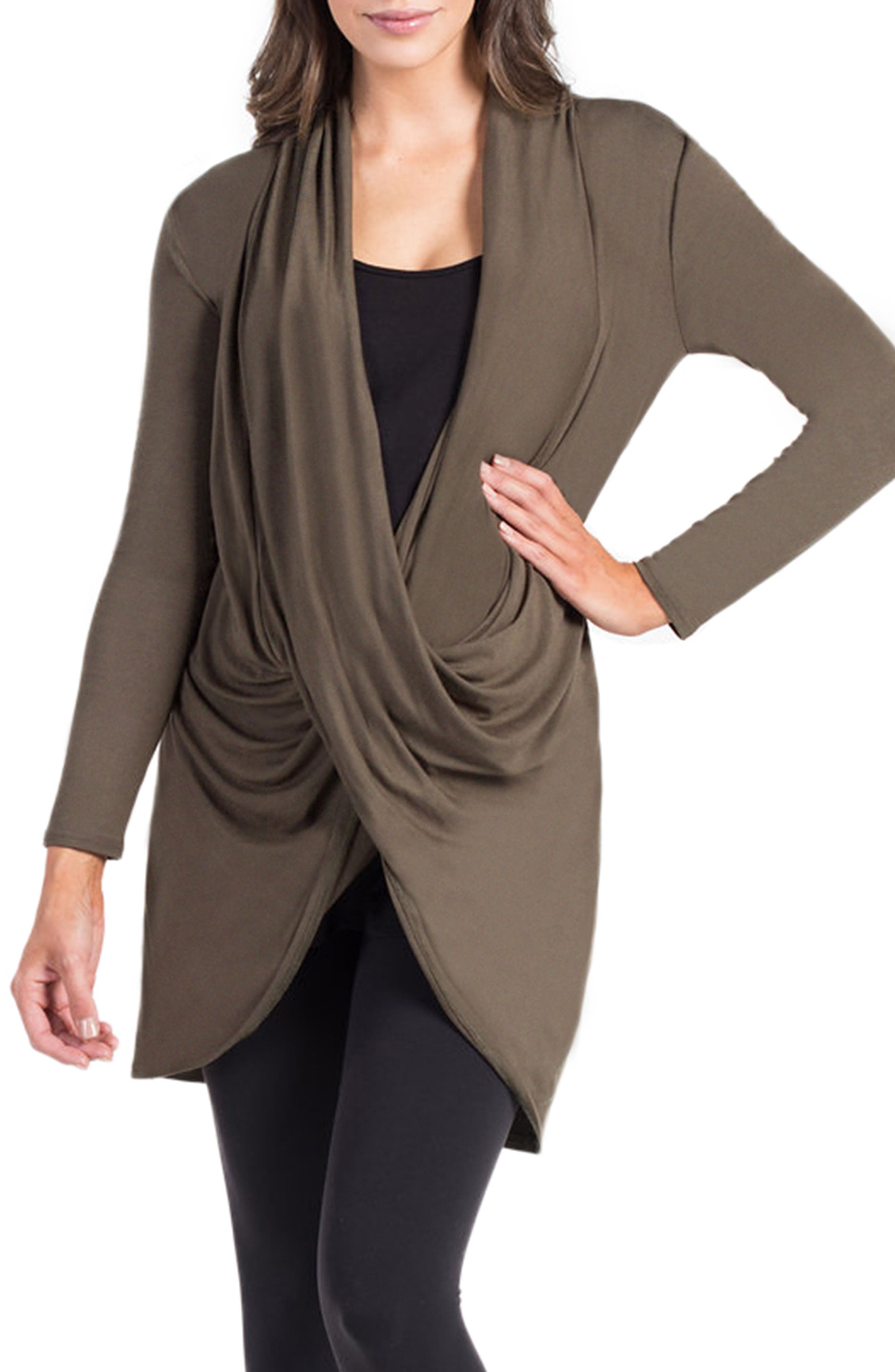 Nara Crossover Maternity/Nursing Tunic with Camisole,                         Main,                         color, DARK OLIVE/ BLACK CAMI