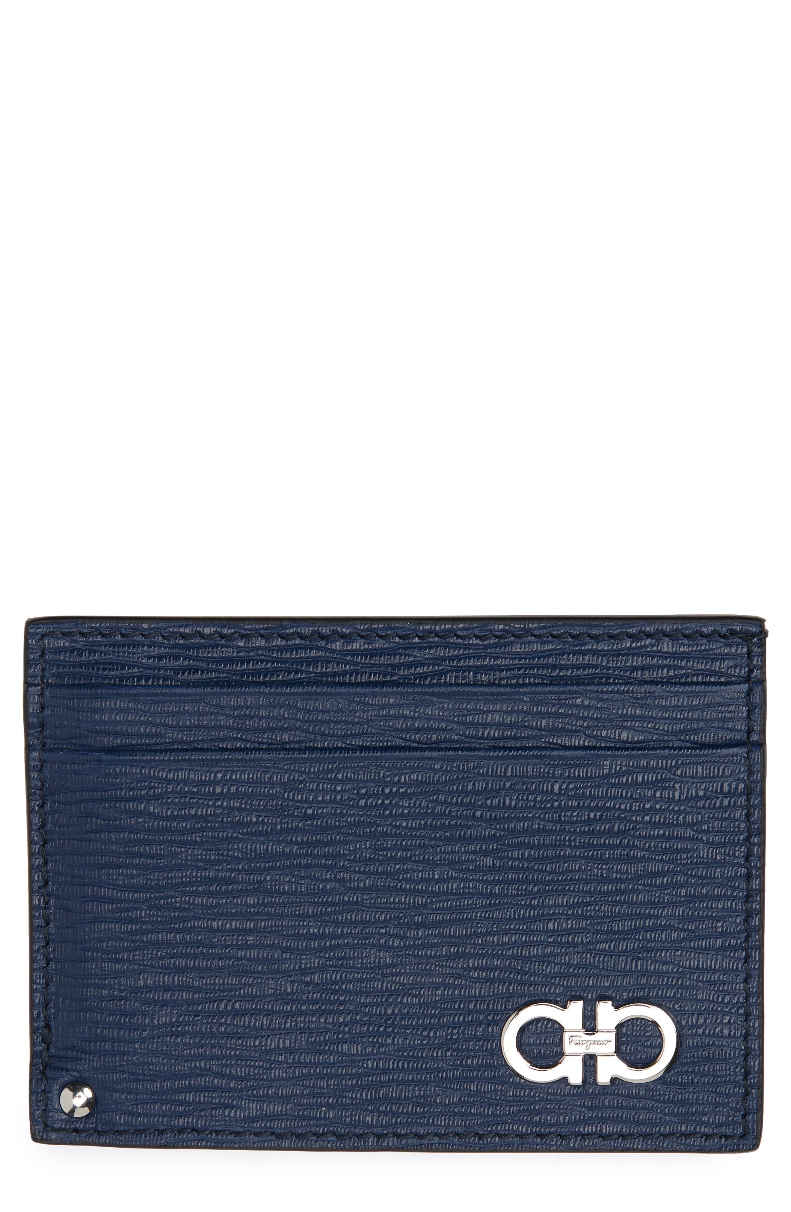 Revival Leather Card Case,                         Main,                         color, FJORD BLUE