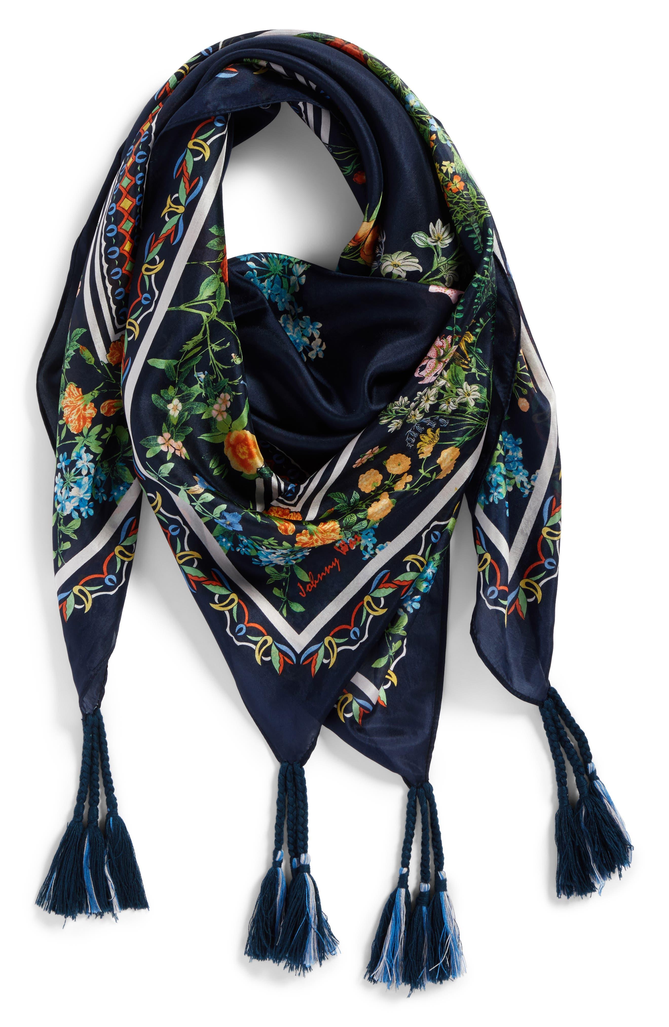 Romantico Tassel Trim Silk Scarf,                             Alternate thumbnail 2, color,                             010