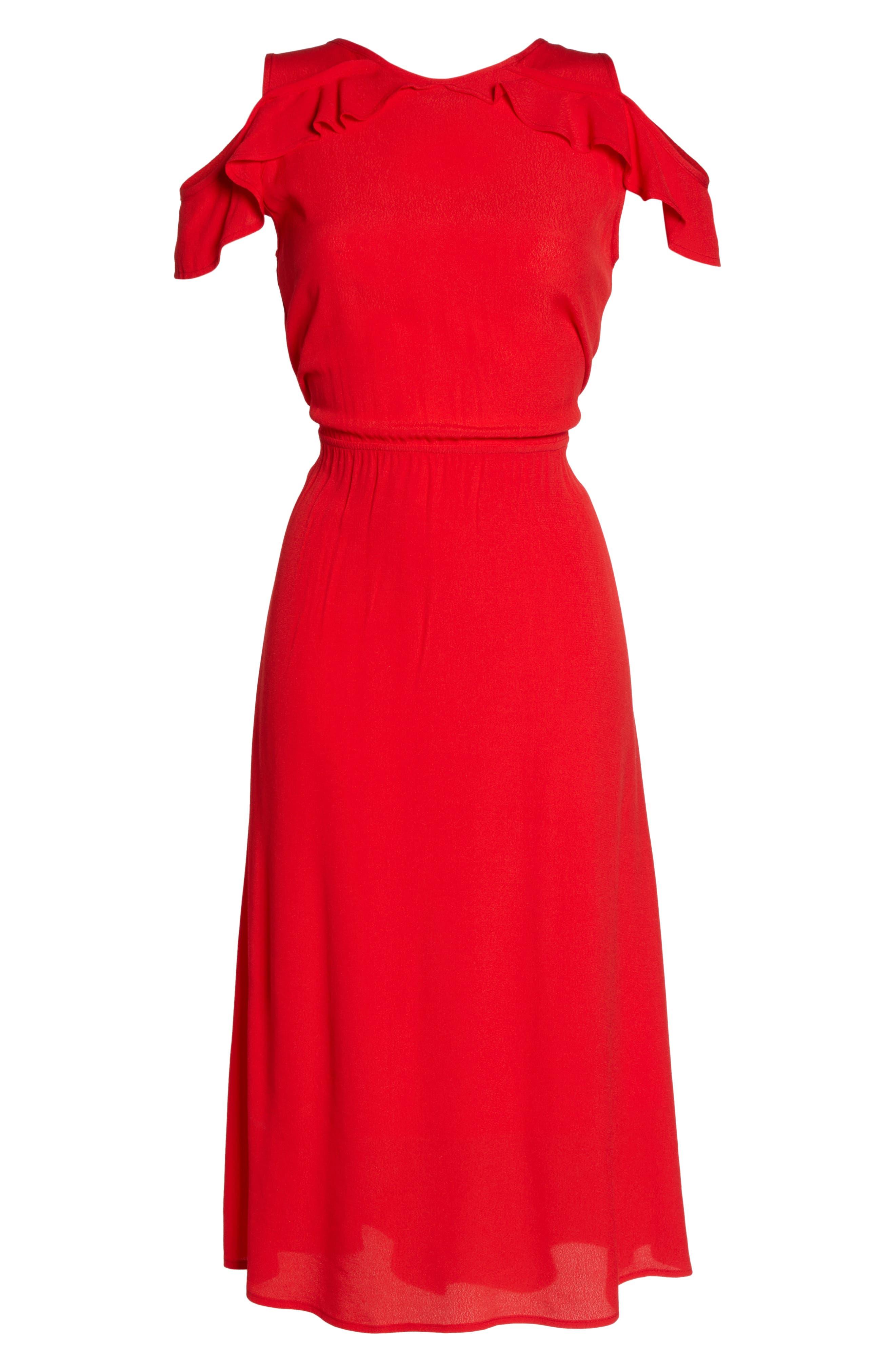 Cold Shoulder Midi Dress,                             Alternate thumbnail 6, color,                             600