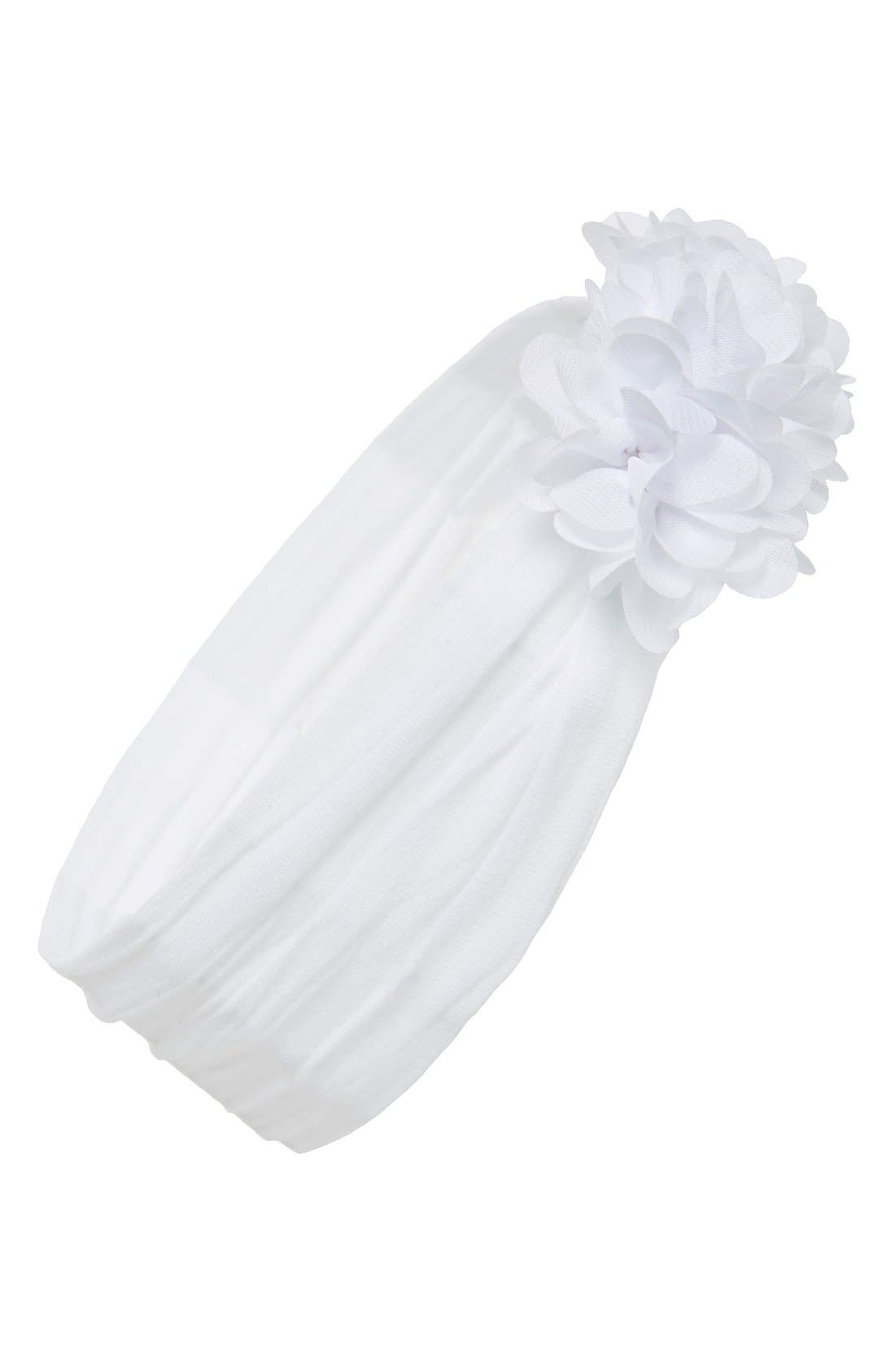 Chiffon Ruffle Headband,                         Main,                         color, WHITE