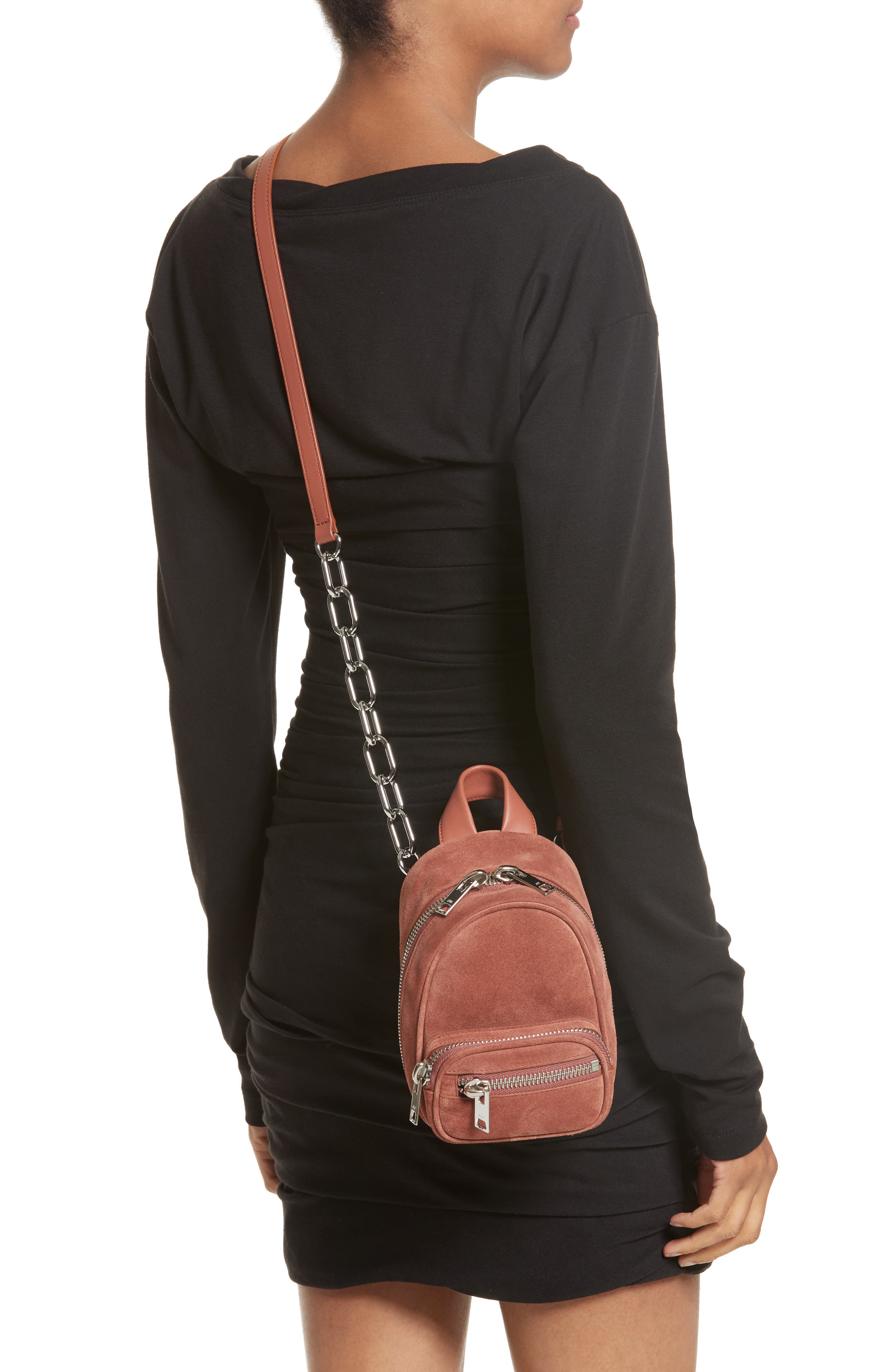 Mini Attica Suede Backpack-Shaped Crossbody Bag,                             Alternate thumbnail 2, color,                             200