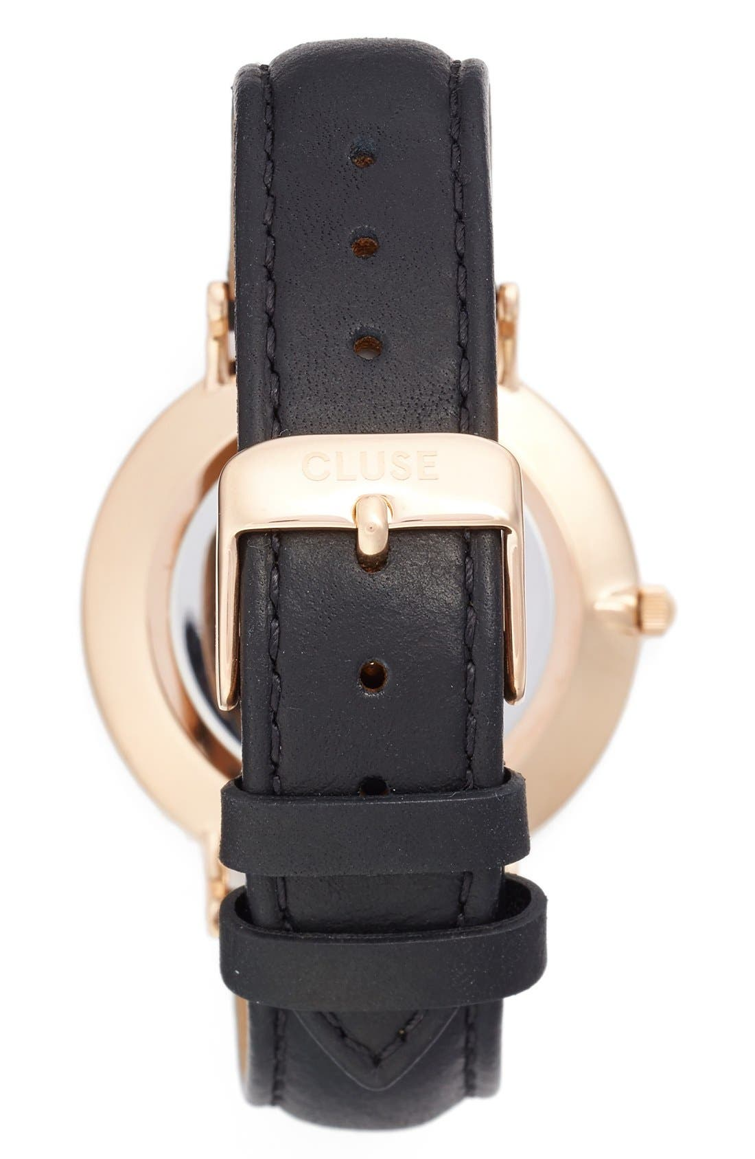 La Bohème Leather Strap Watch, 38mm,                             Alternate thumbnail 3, color,                             001