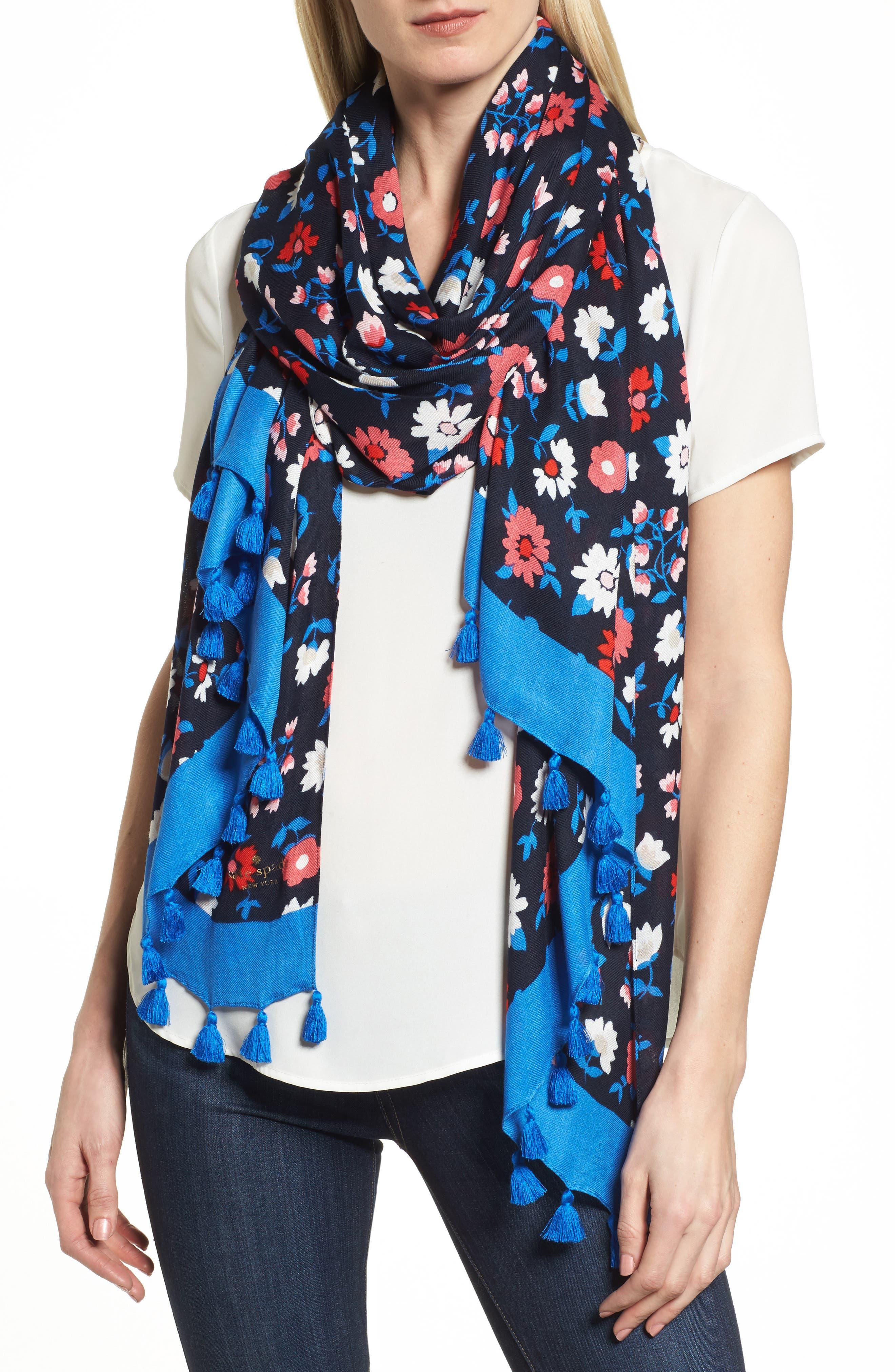 daisy scarf,                             Main thumbnail 1, color,                             RICH NAVY