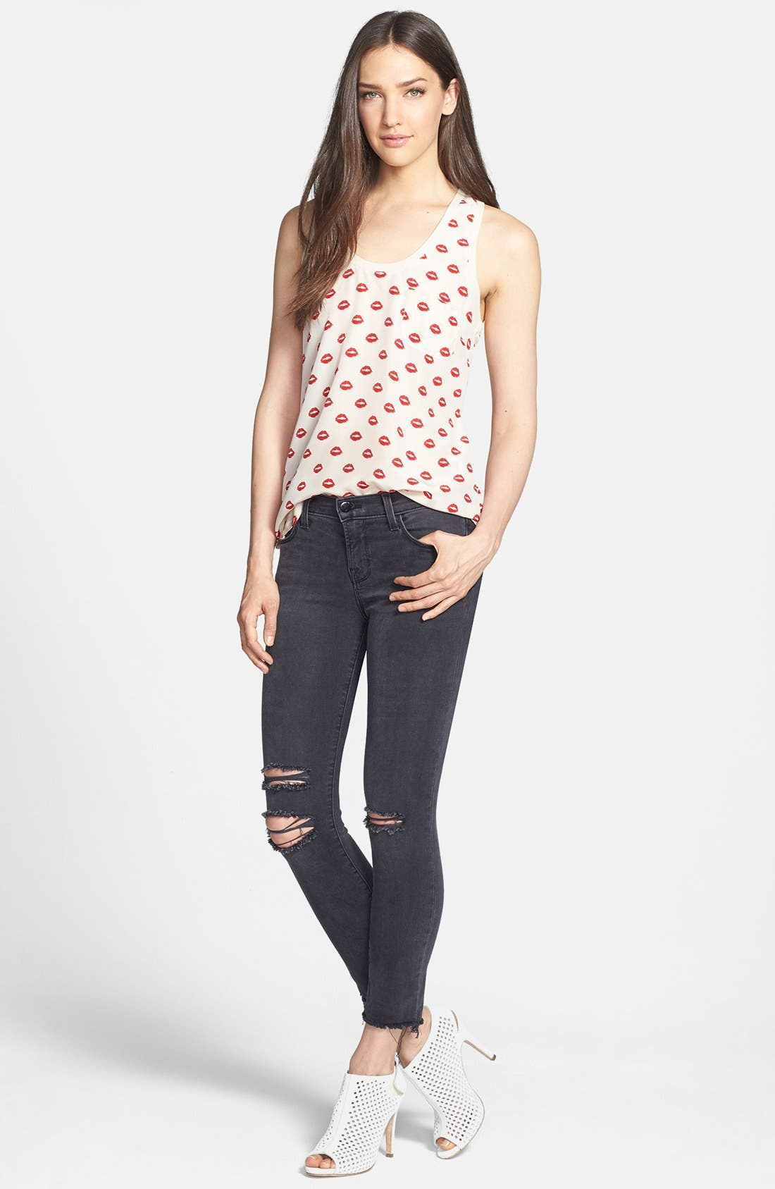 Distressed Crop Skinny Jeans,                             Alternate thumbnail 2, color,                             001