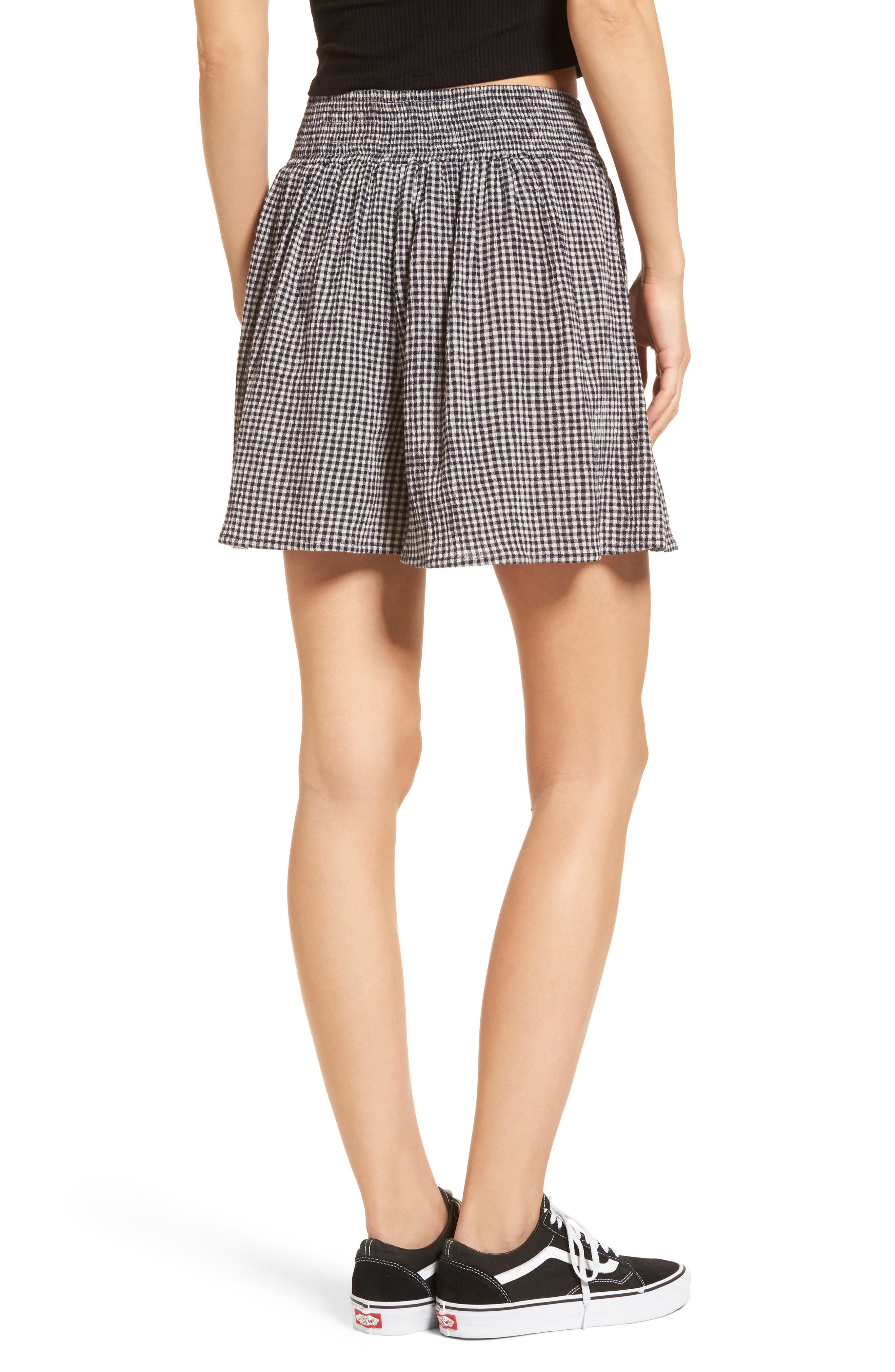 Pleated Gingham Shorts,                             Alternate thumbnail 2, color,                             001
