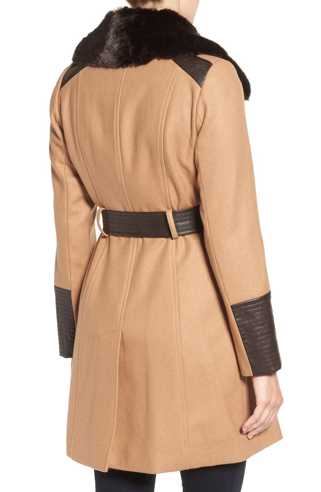 Faux Leather & Faux Fur Trim Belted Wool Blend Coat,                             Alternate thumbnail 14, color,
