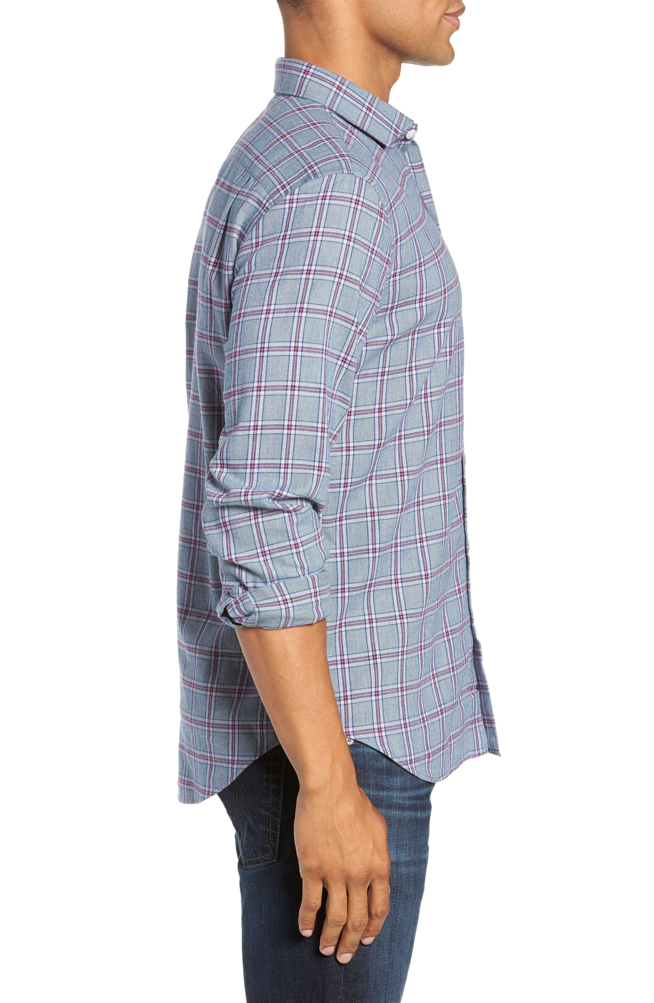Unbutton Down Slim Fit Check Sport Shirt,                             Alternate thumbnail 4, color,                             GRAPESEED