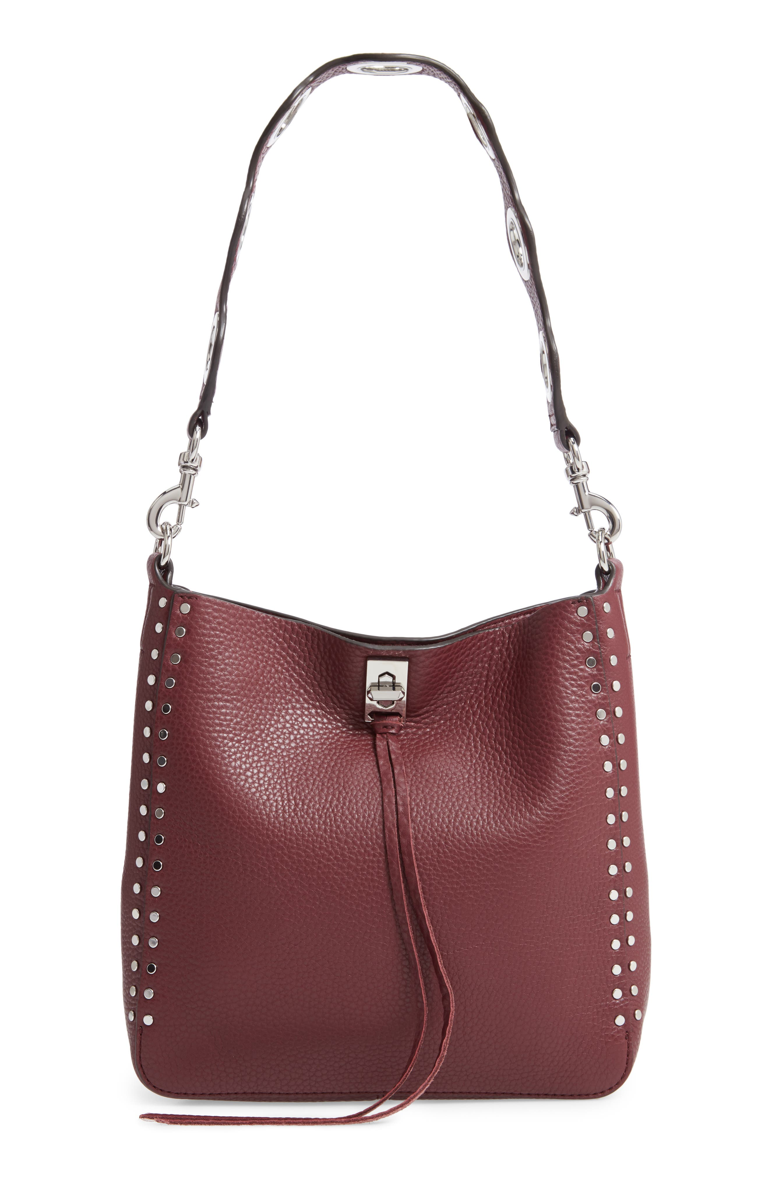 Small Darren Deerskin Leather Feed Bag,                         Main,                         color, BORDEAUX