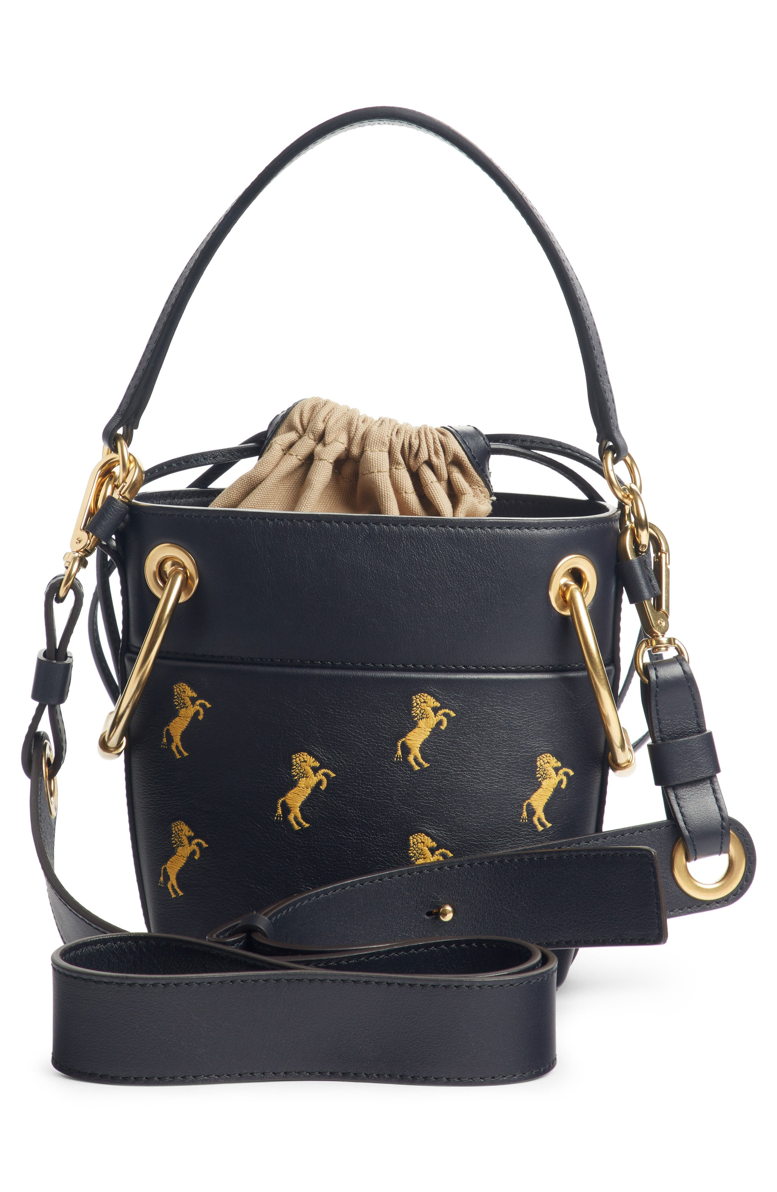 Roy Mini Embroidered Leather Bucket Bag,                             Alternate thumbnail 4, color,                             FULL BLUE
