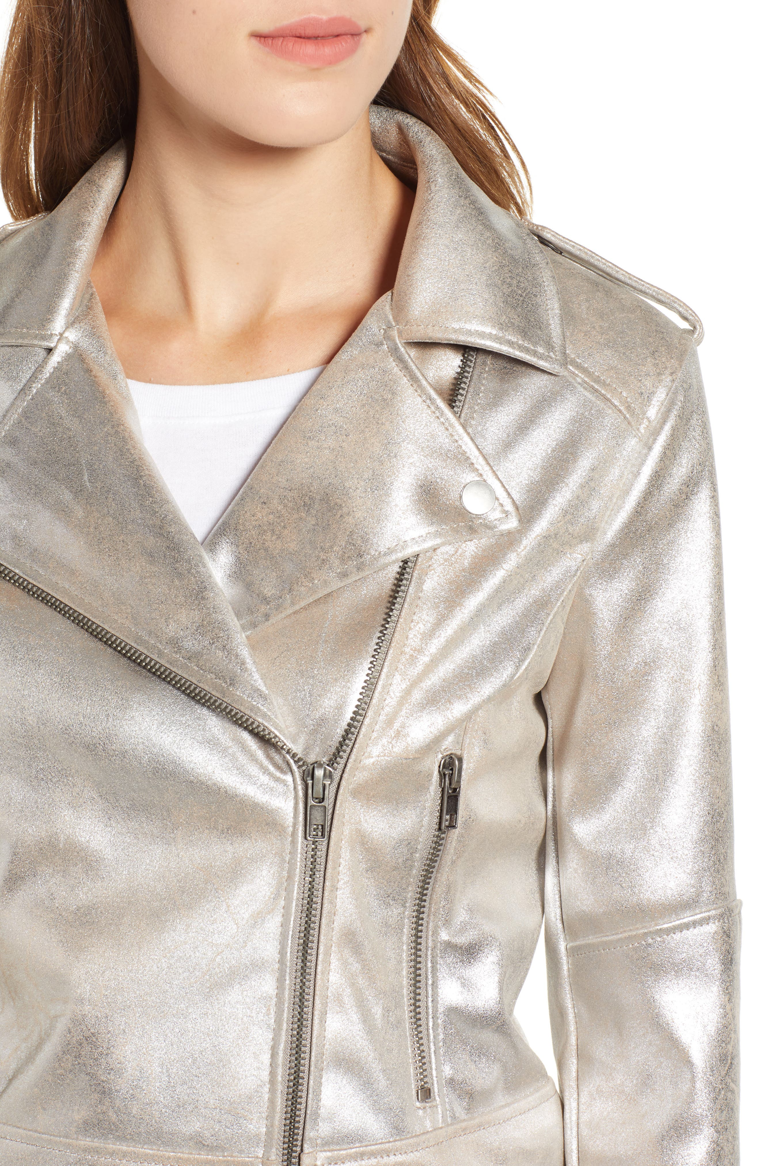 CUPCAKES AND CASHMERE,                             Foiled Faux Suede Moto Jacket,                             Alternate thumbnail 4, color,                             SILVER TOFFEE
