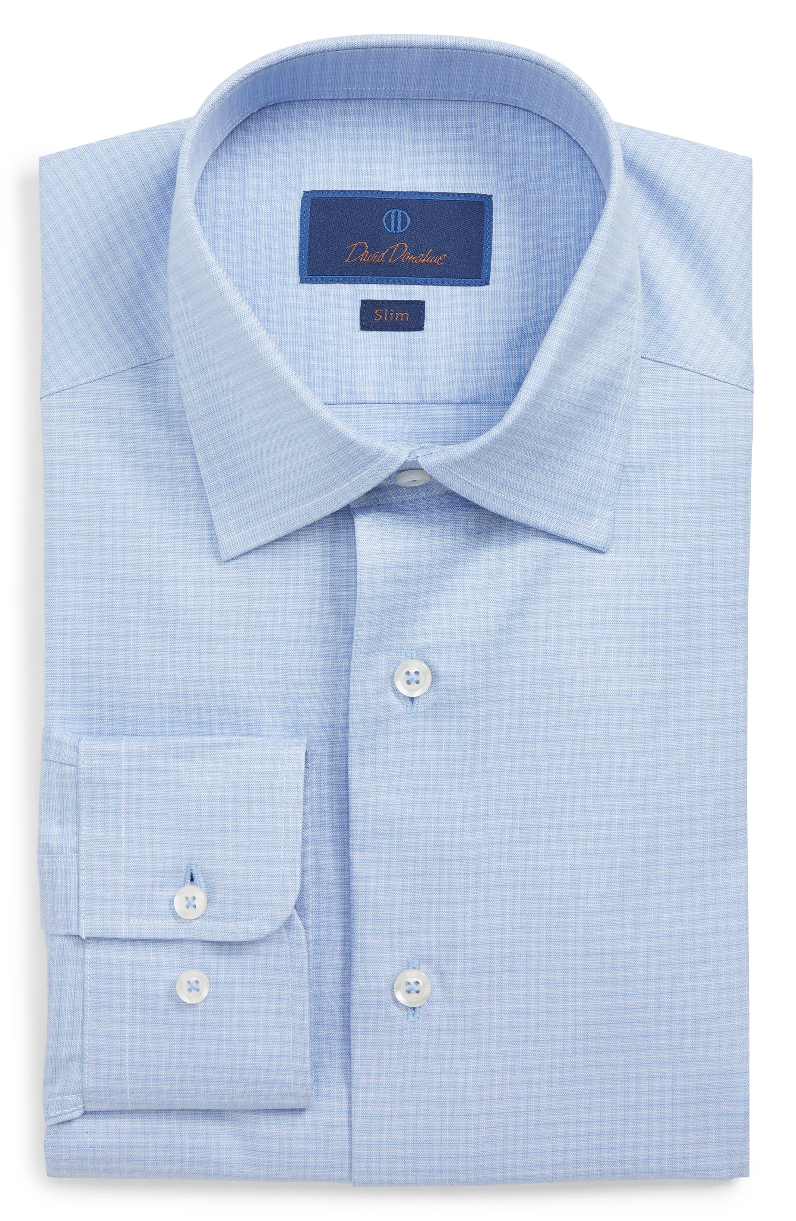 DAVID DONAHUE Men'S Slim-Fit Tonal Check Dress Shirt in Blue