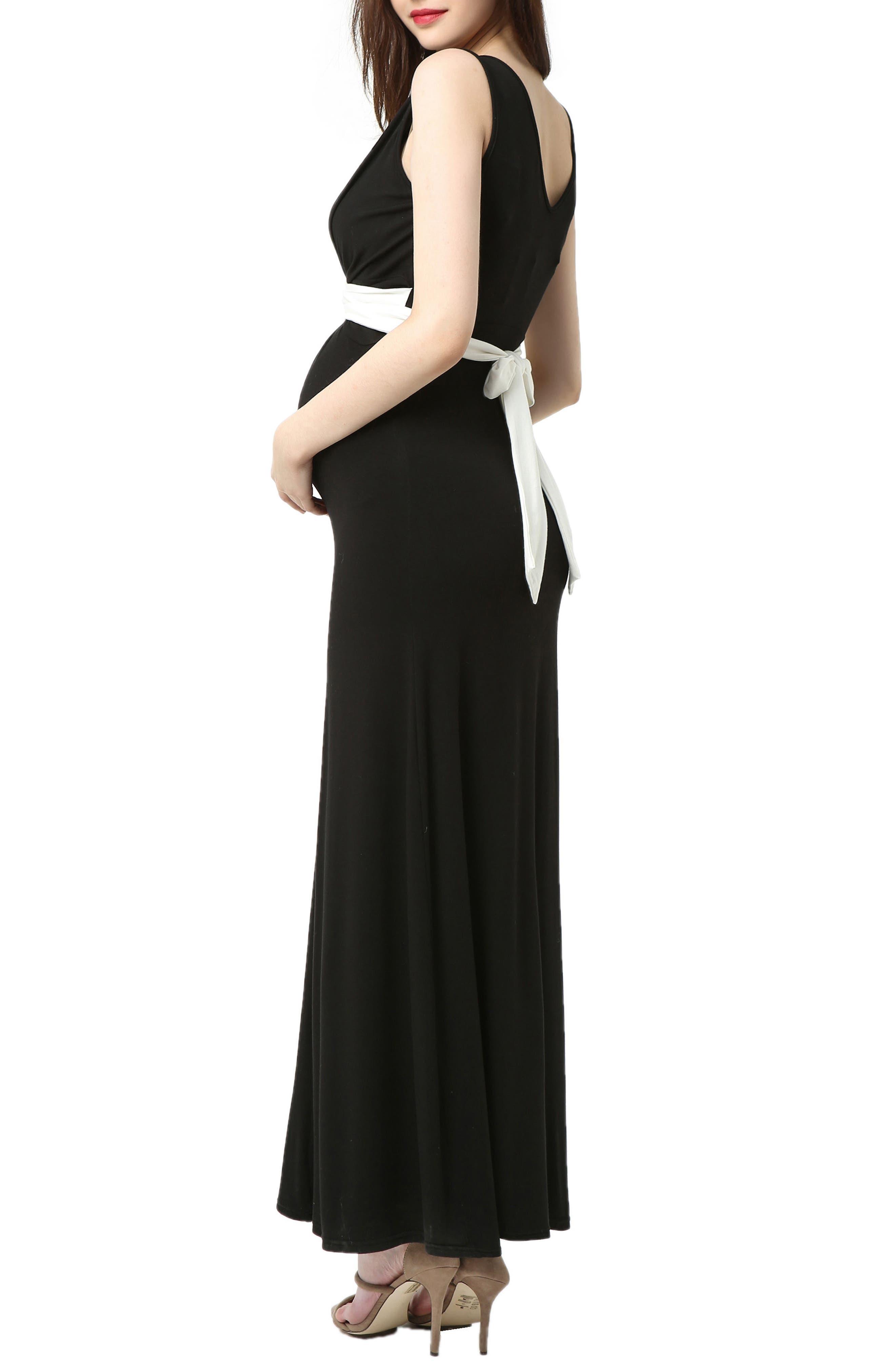 Scarlett Maternity Maxi Dress,                             Alternate thumbnail 2, color,                             BLACK/ WHITE