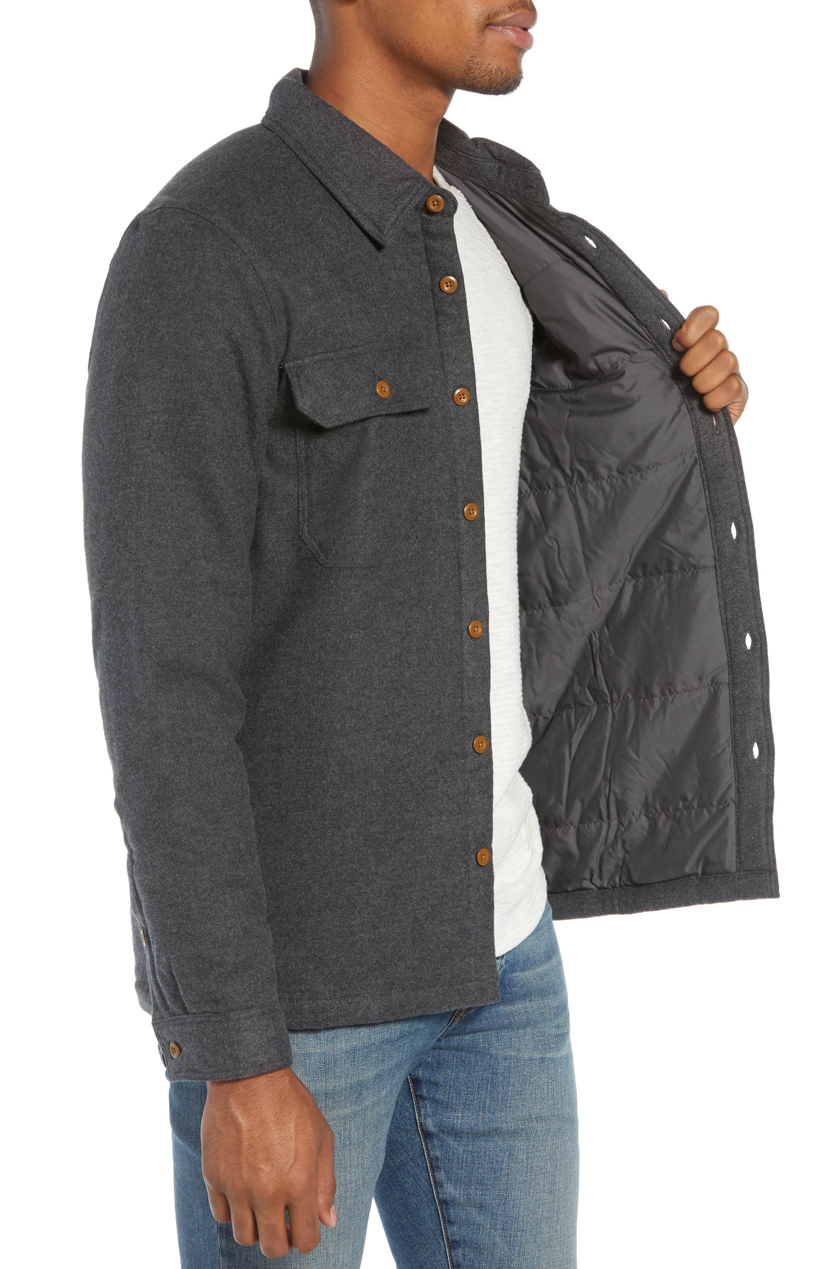 'Fjord' Flannel Shirt Jacket,                             Alternate thumbnail 3, color,                             FORGE GREY