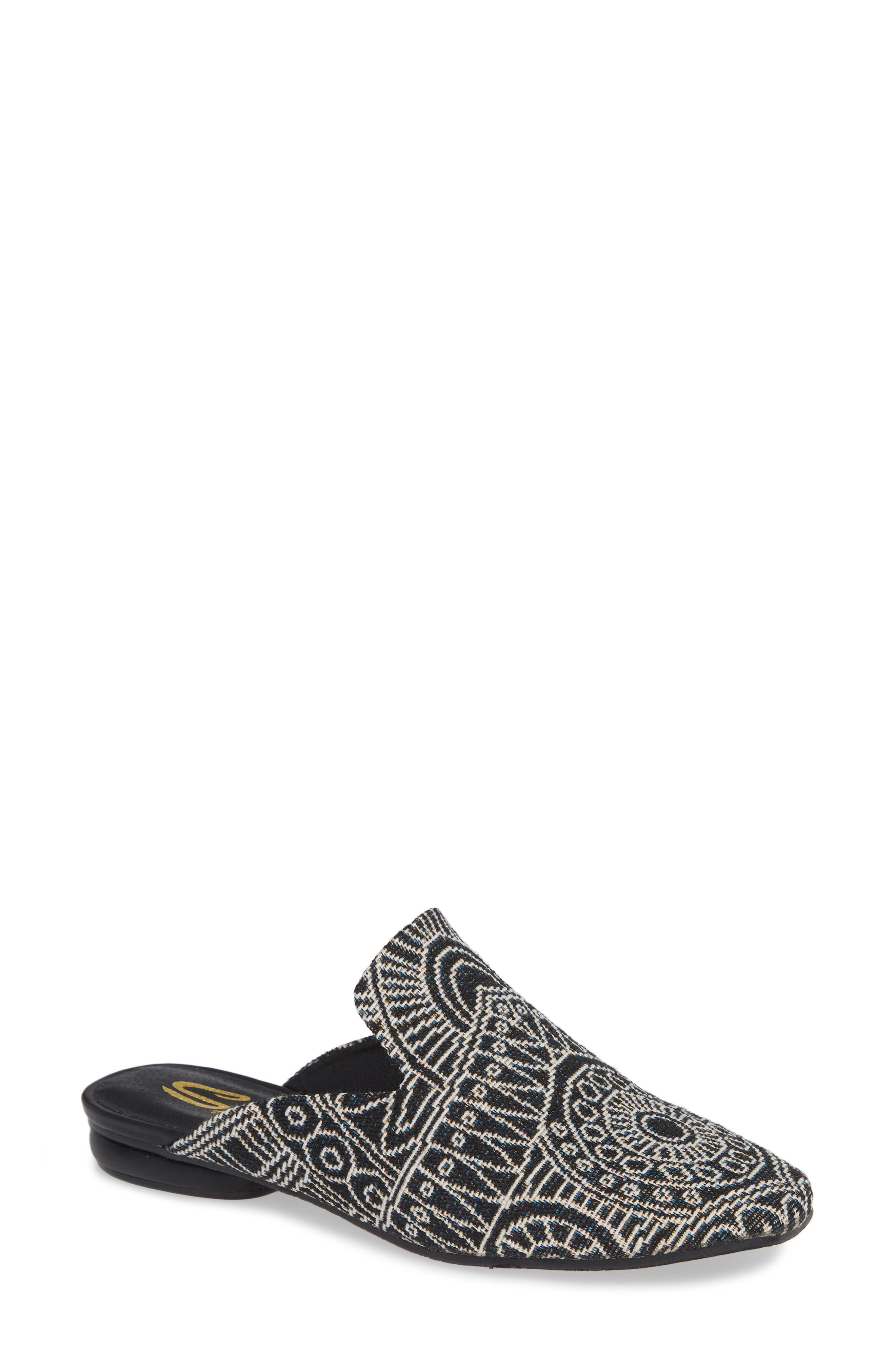 Brienne Loafer Mule,                             Main thumbnail 1, color,                             BLACK/ WHITE FABRIC