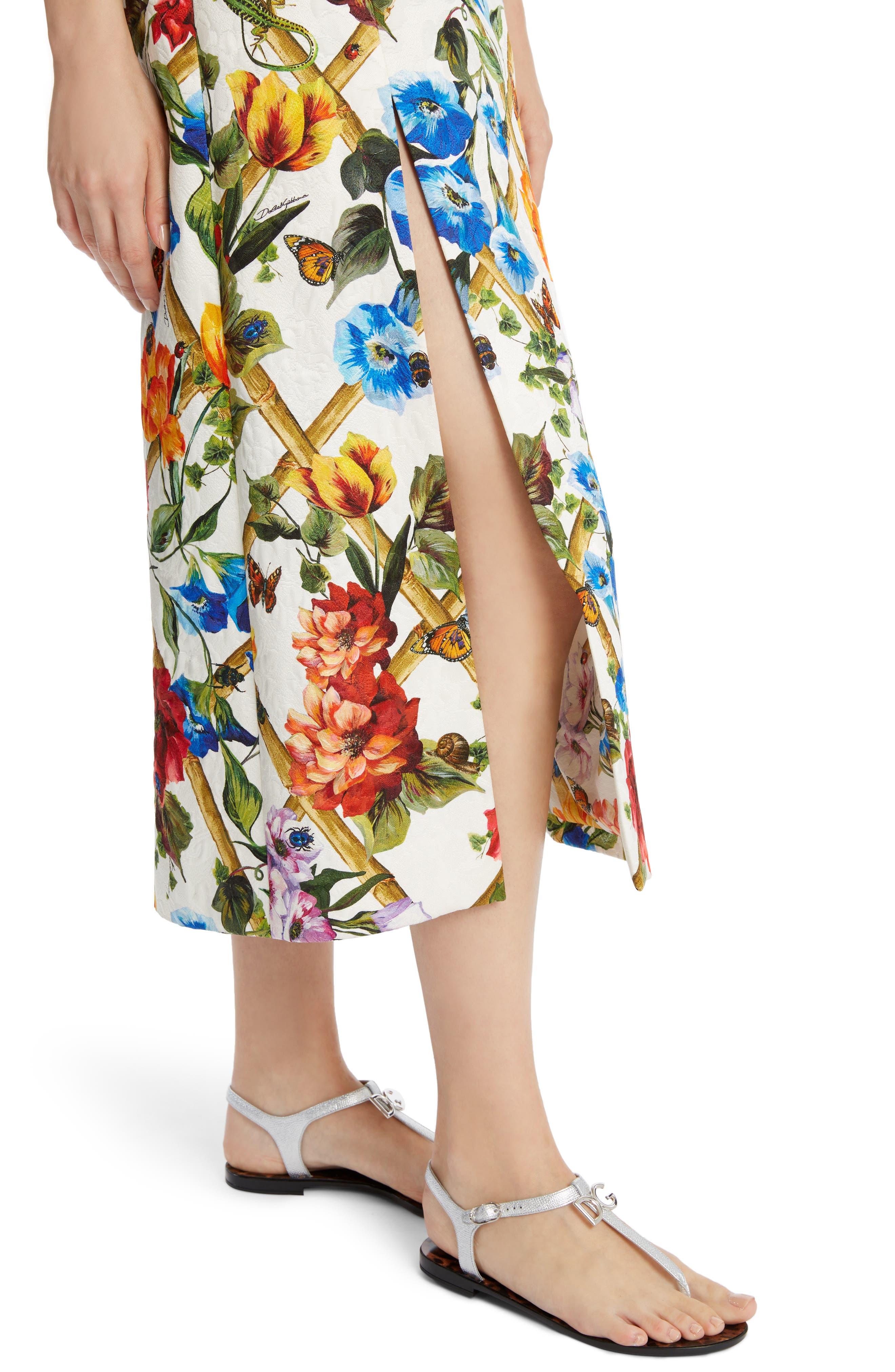 Slit Floral Brocade Dress,                             Alternate thumbnail 4, color,                             115
