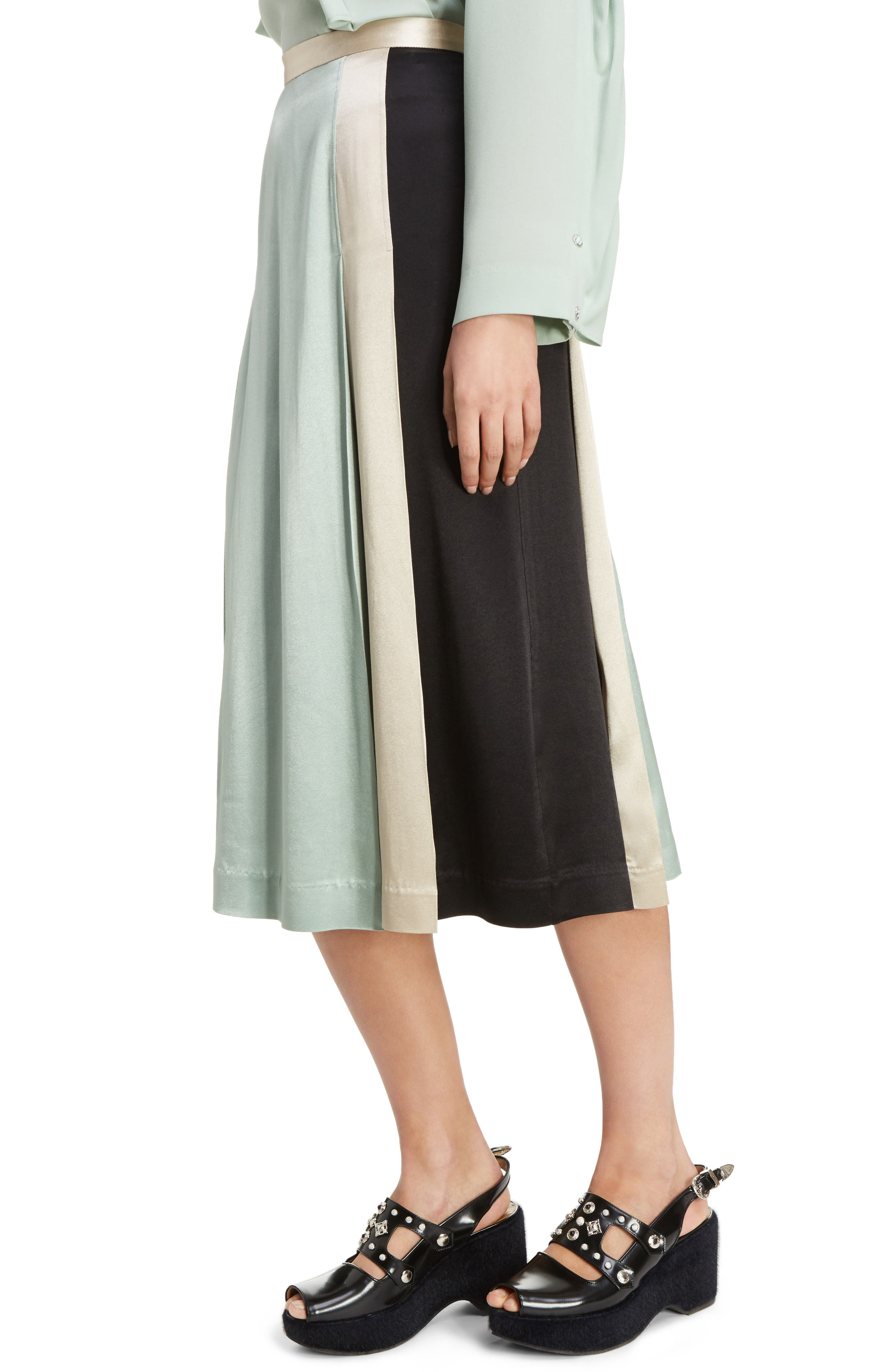 Pleated Satin Skirt,                             Alternate thumbnail 4, color,                             300