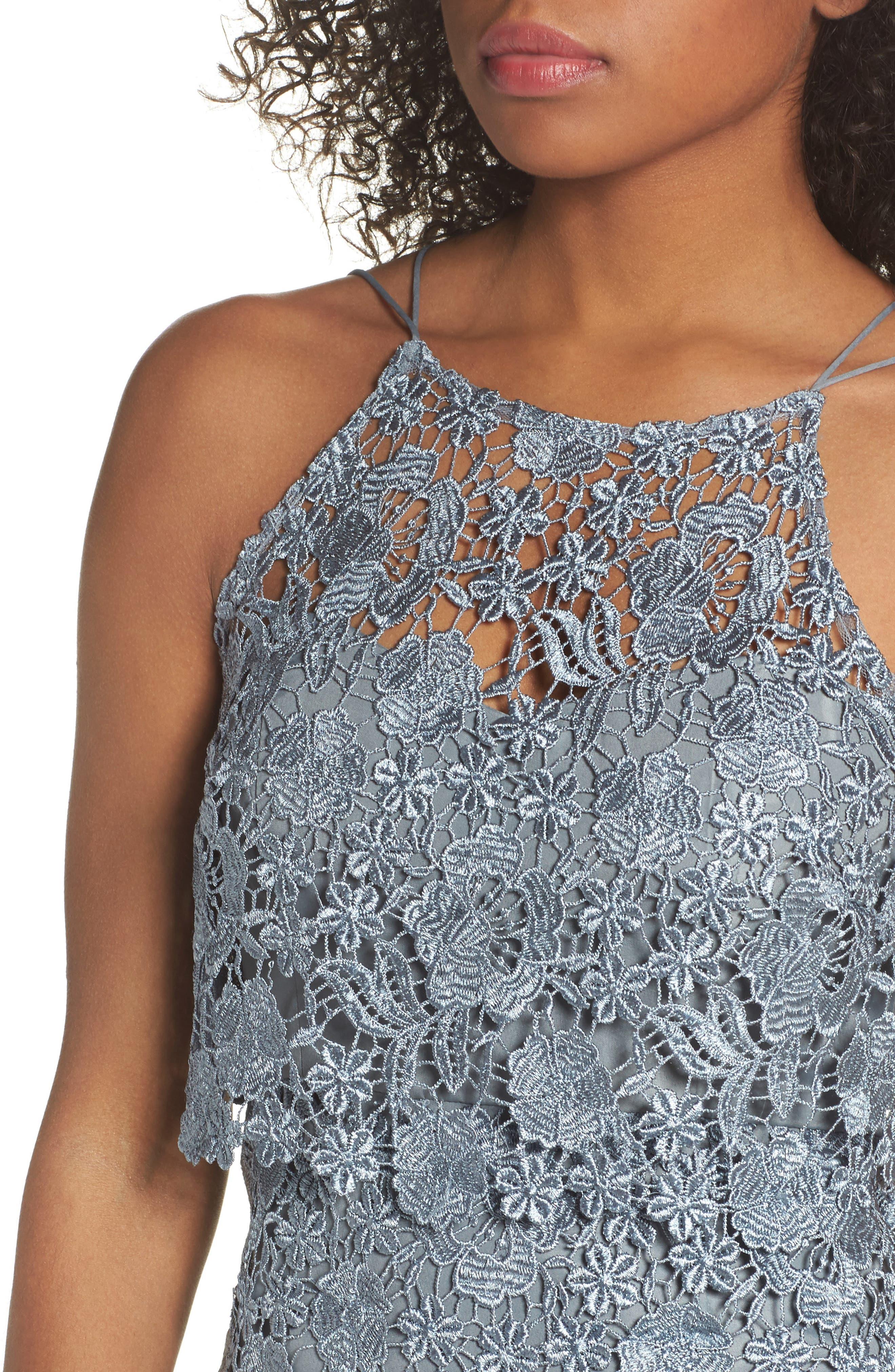 Freya Lace Sheath Dress,                             Alternate thumbnail 4, color,                             MAYAN BLUE