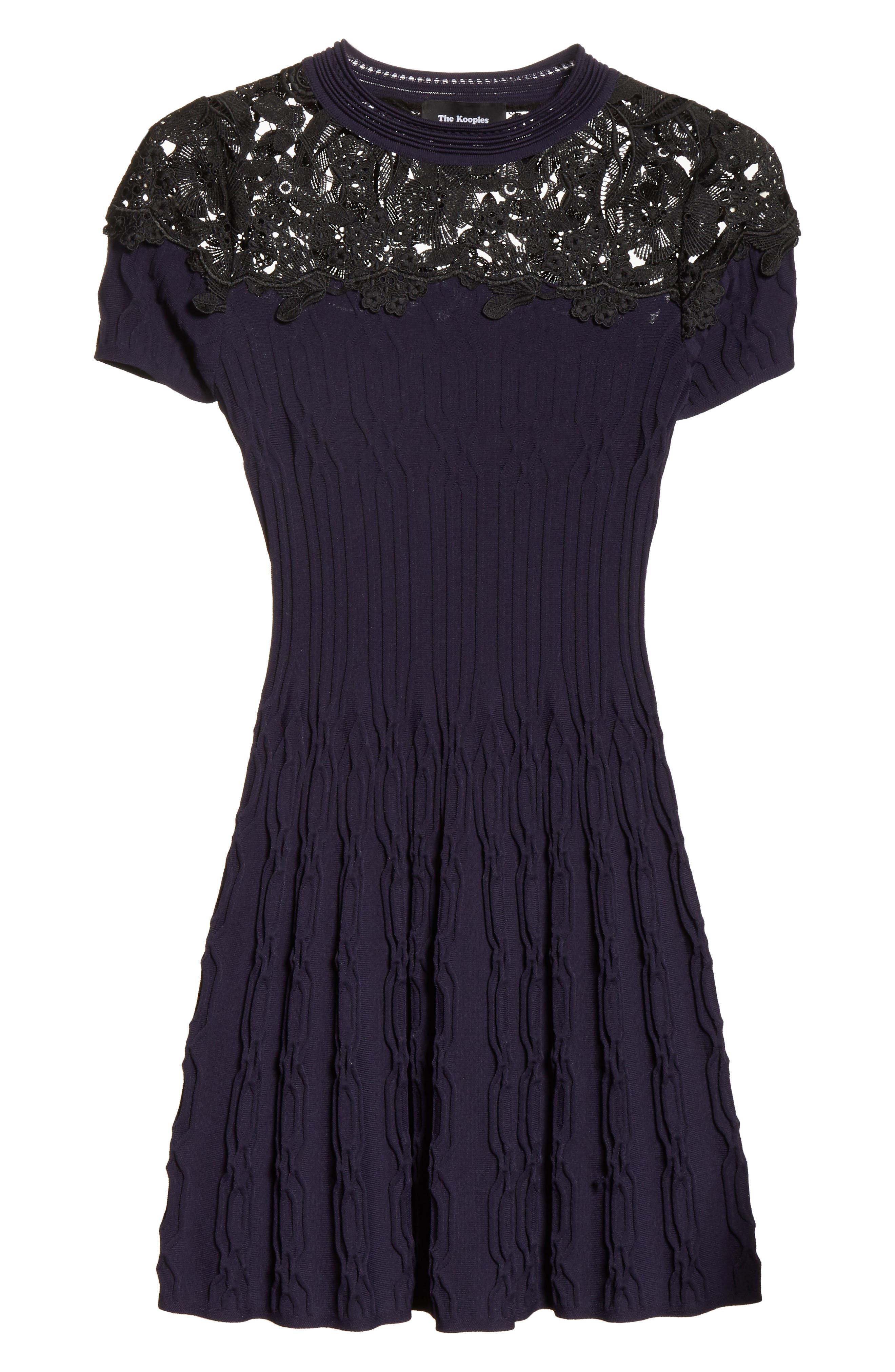 Lace Yoke Dress,                             Alternate thumbnail 7, color,                             400