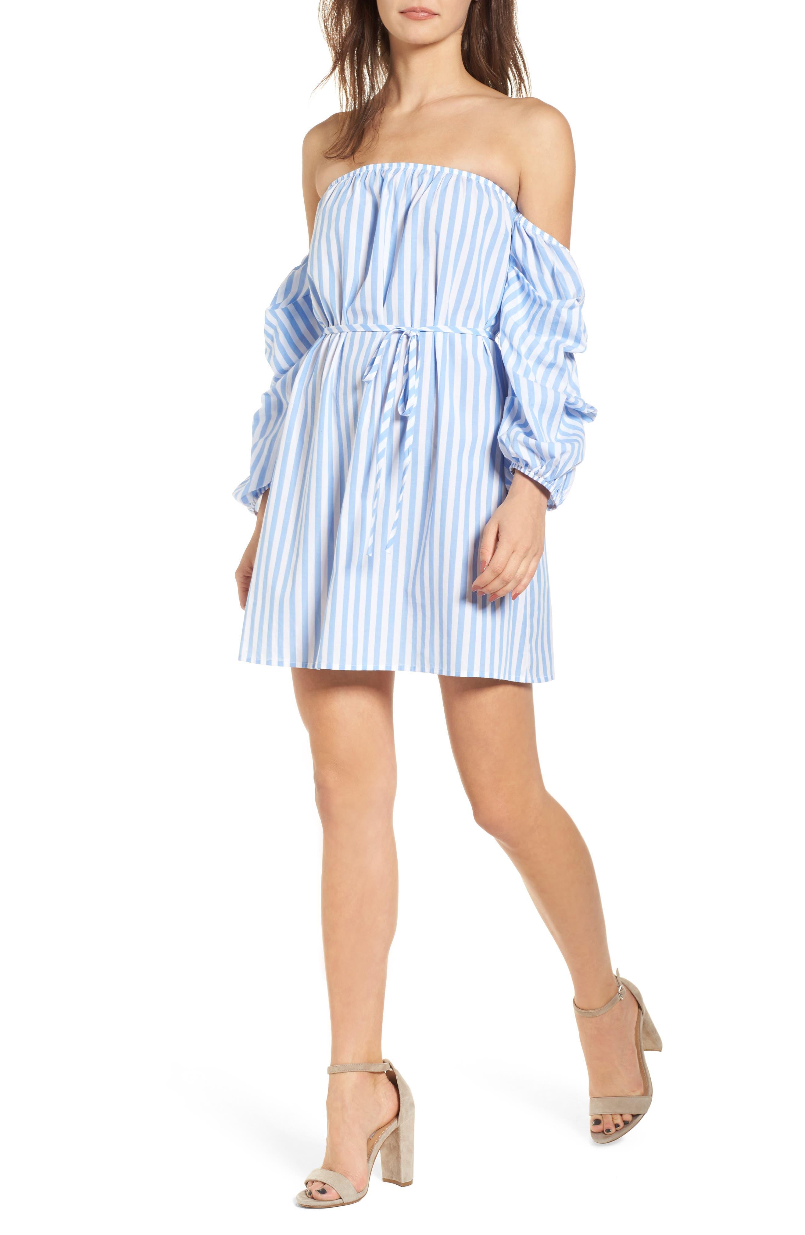 Off the Shoulder Stripe Minidress,                         Main,                         color, 100