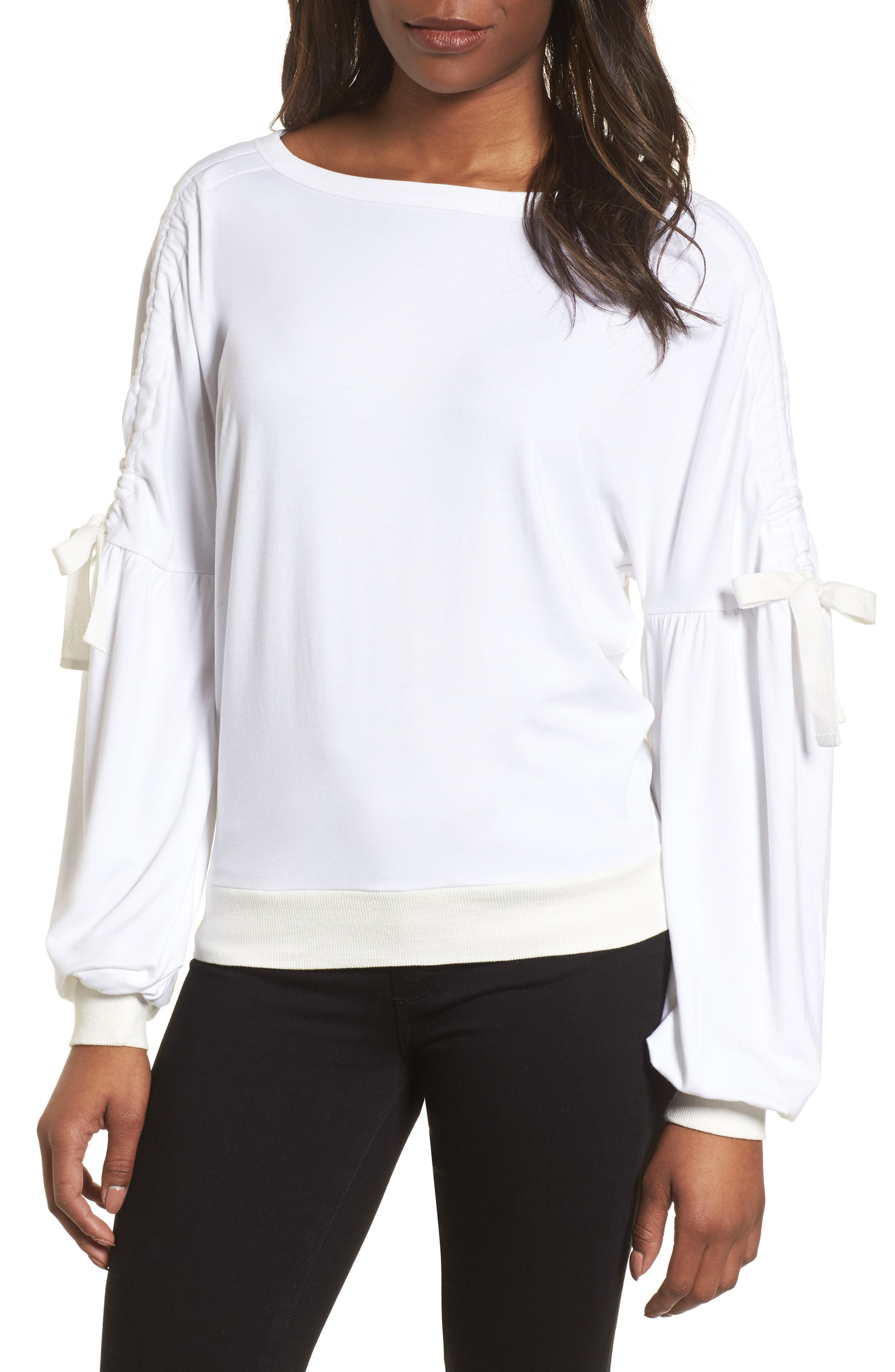 Ruched Bow Sleeve Top,                             Main thumbnail 2, color,