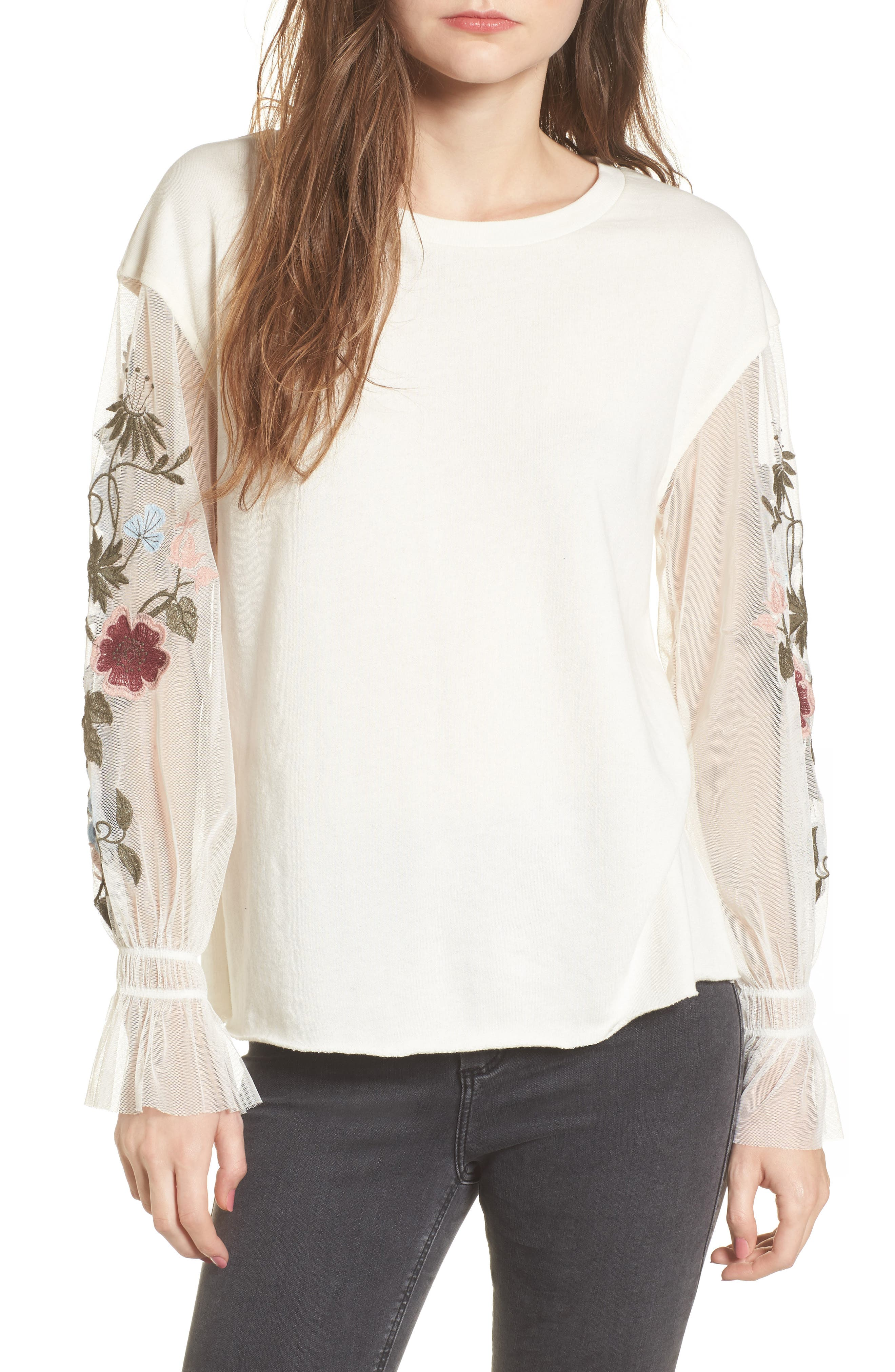 Embroidered Mesh Sleeve Tee,                             Main thumbnail 1, color,