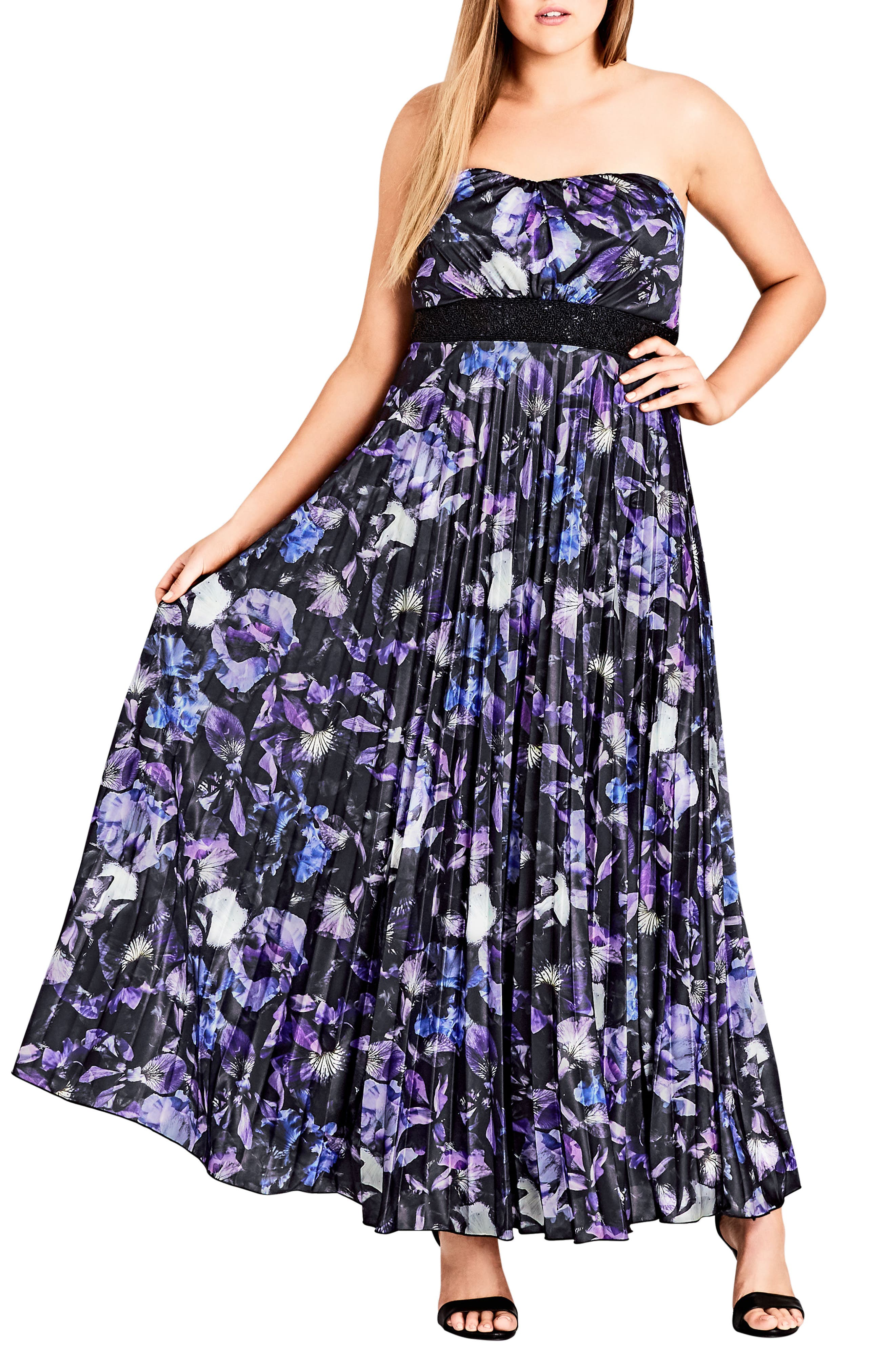 Lavender Floral Maxi Dress,                             Main thumbnail 1, color,                             LAVENDER FLORAL