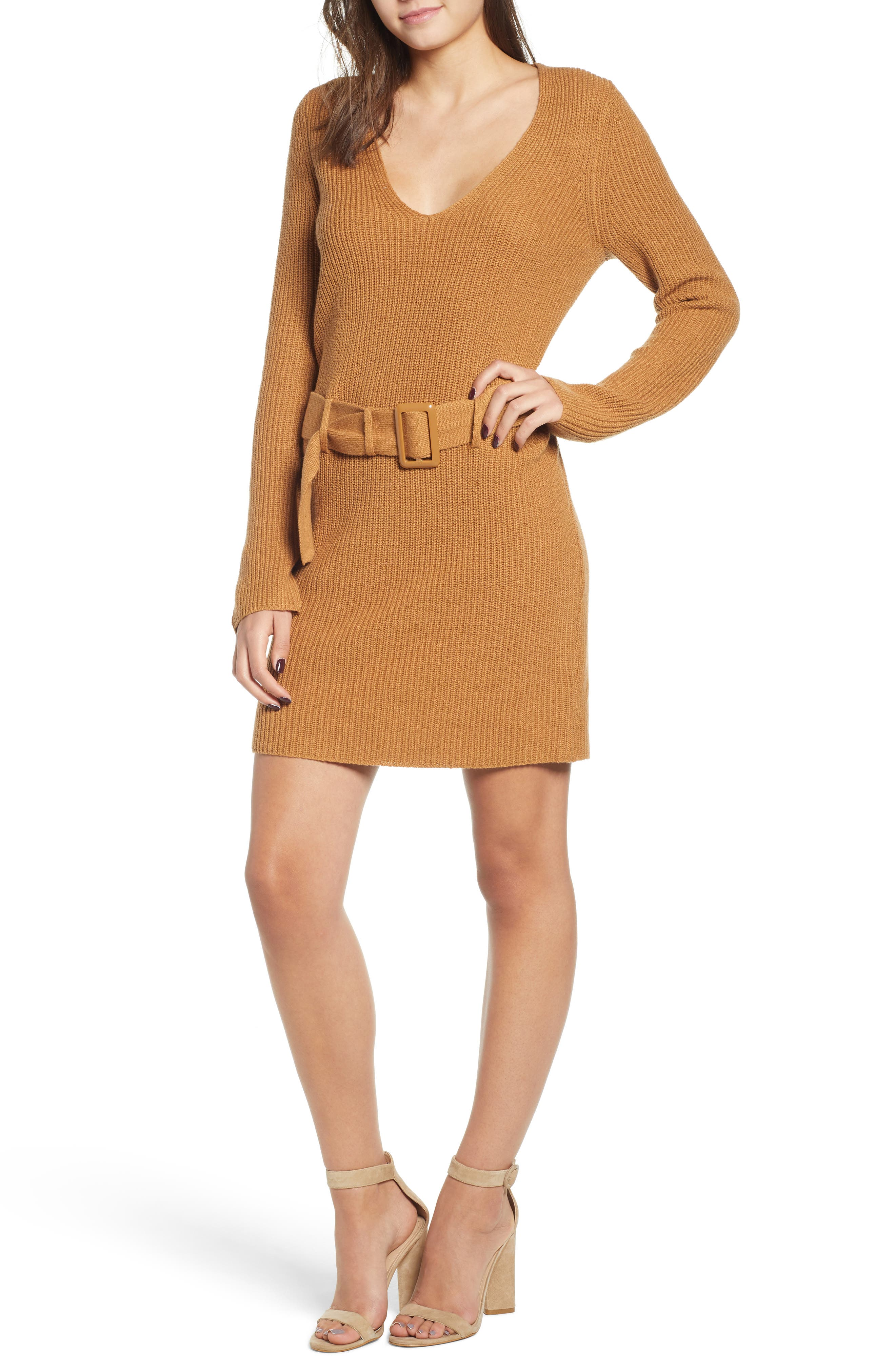 Leith Belted Sweater Dress, Brown