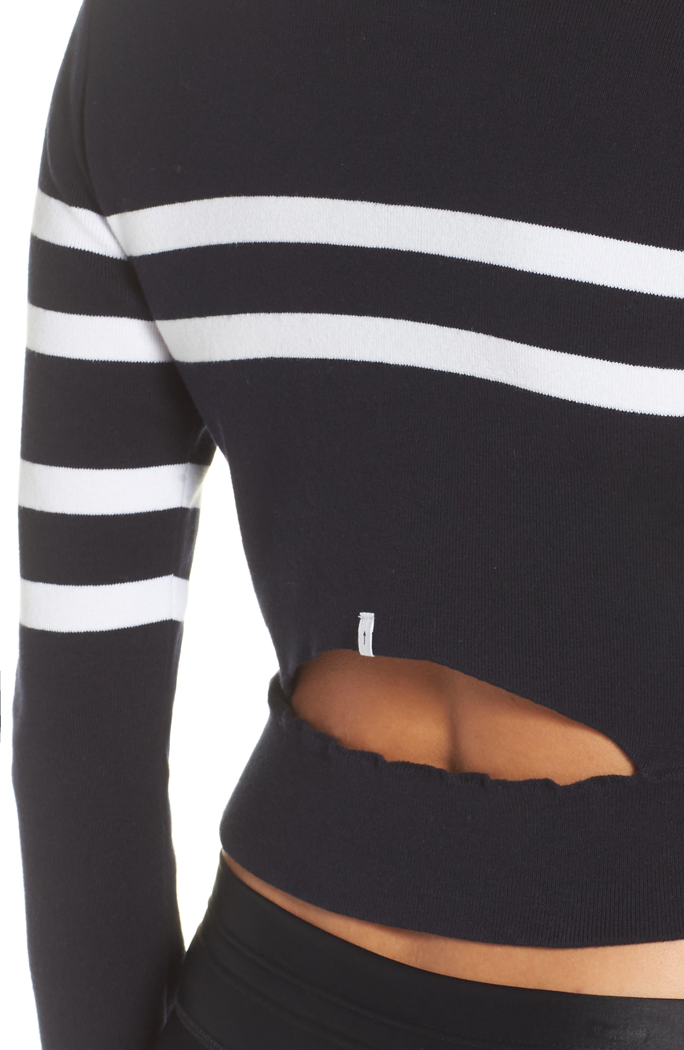 Nala Crop Sweater,                             Alternate thumbnail 4, color,                             INDIGO
