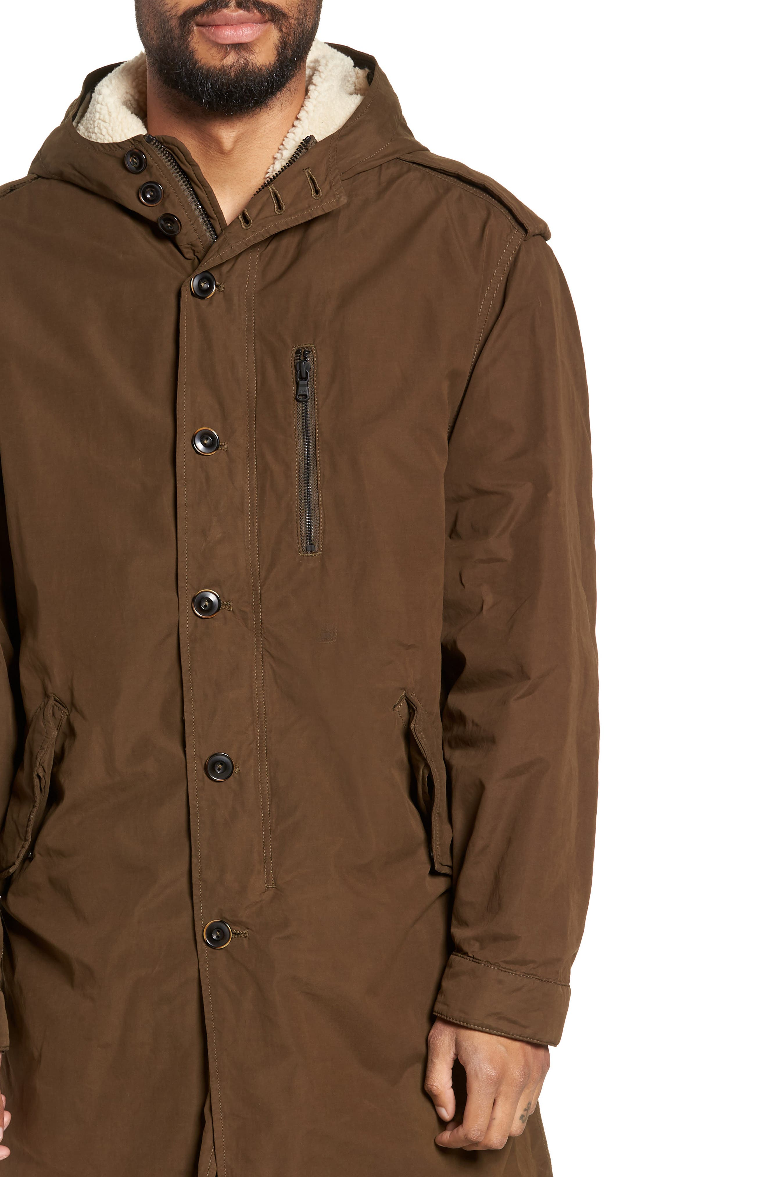 Removable Faux Shearling Anorak,                             Alternate thumbnail 4, color,                             UMBER