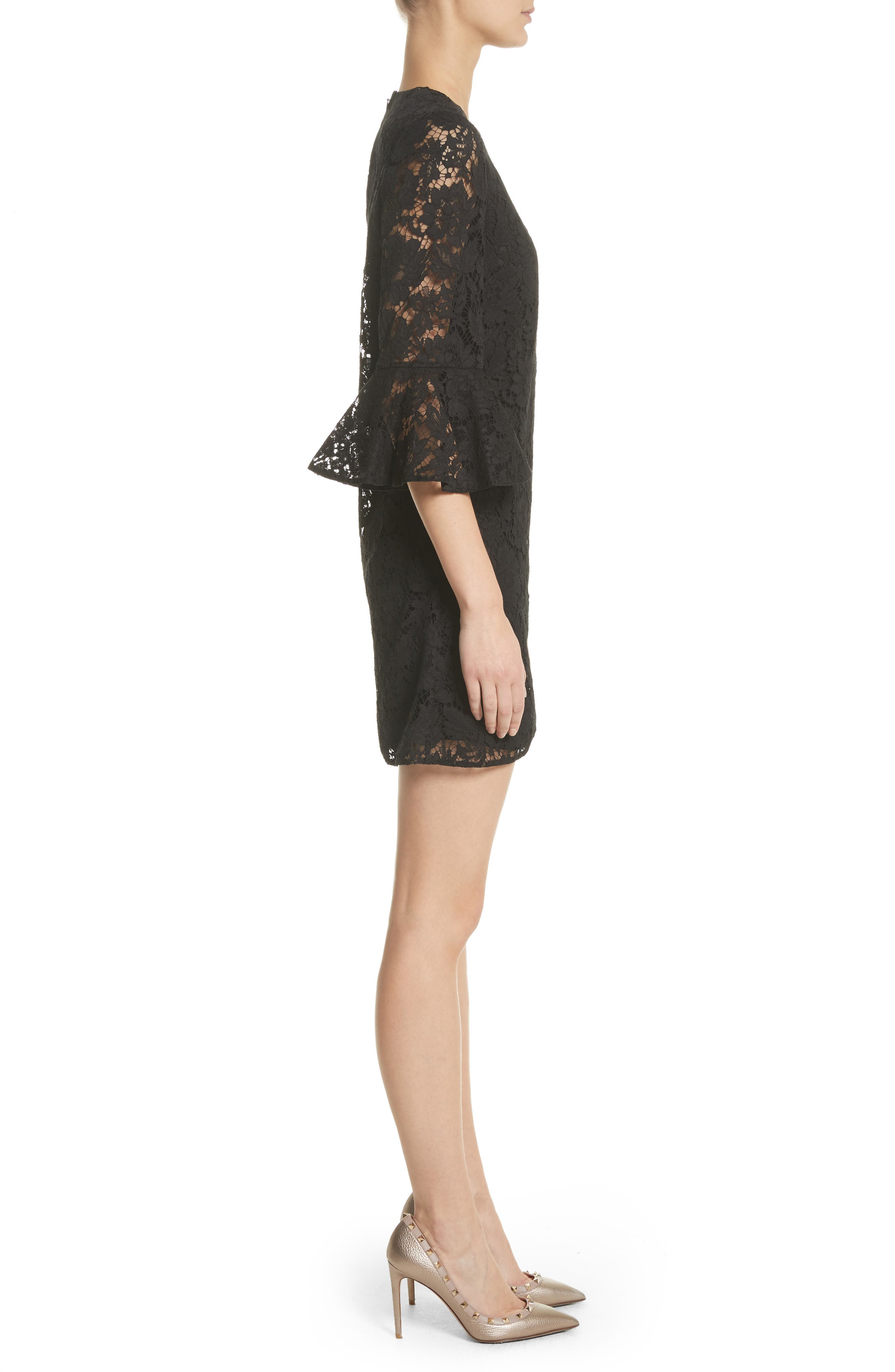 Lace Bell Sleeve Dress,                             Alternate thumbnail 3, color,                             001