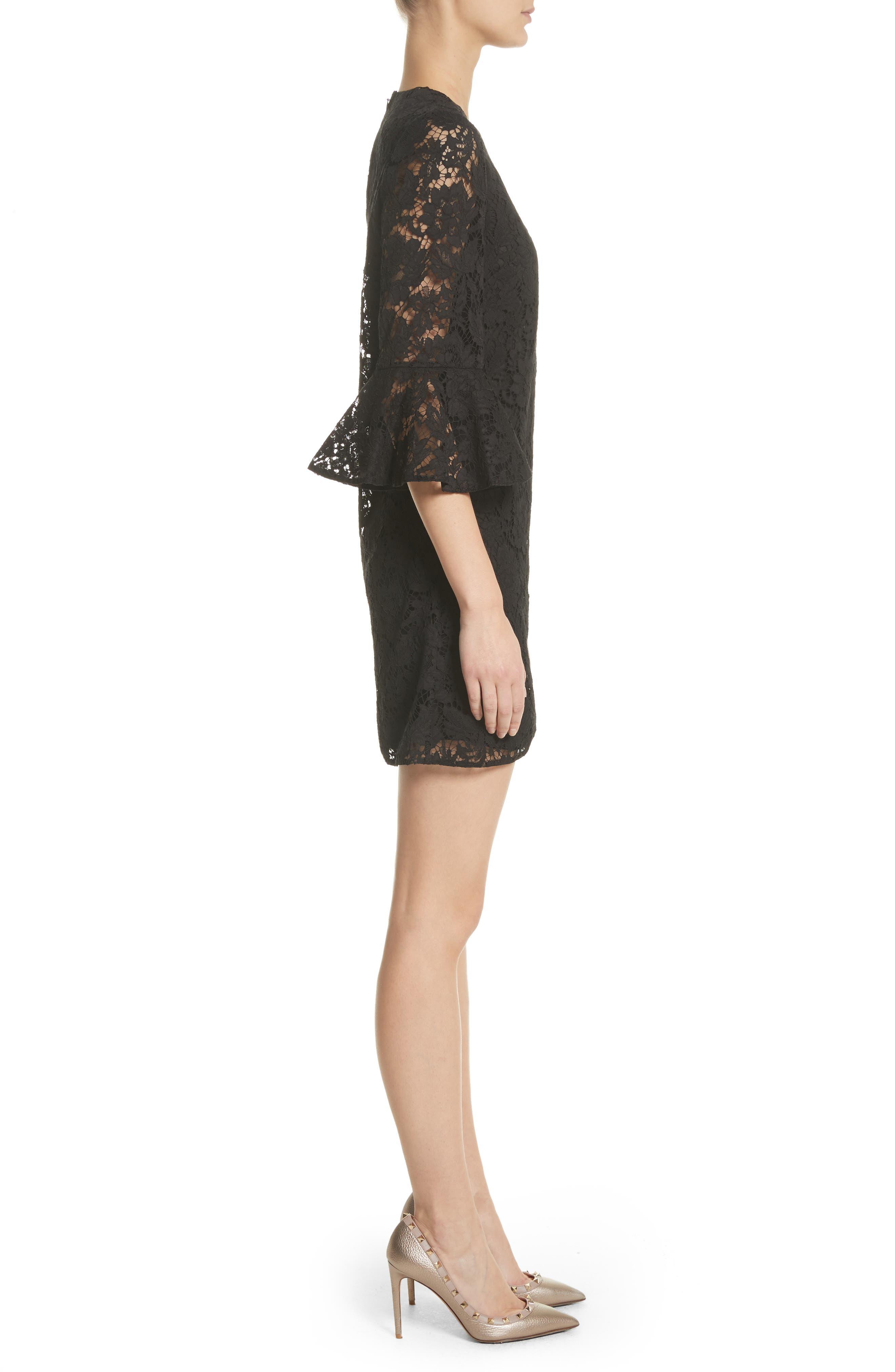 Lace Bell Sleeve Dress,                             Alternate thumbnail 3, color,                             BLACK