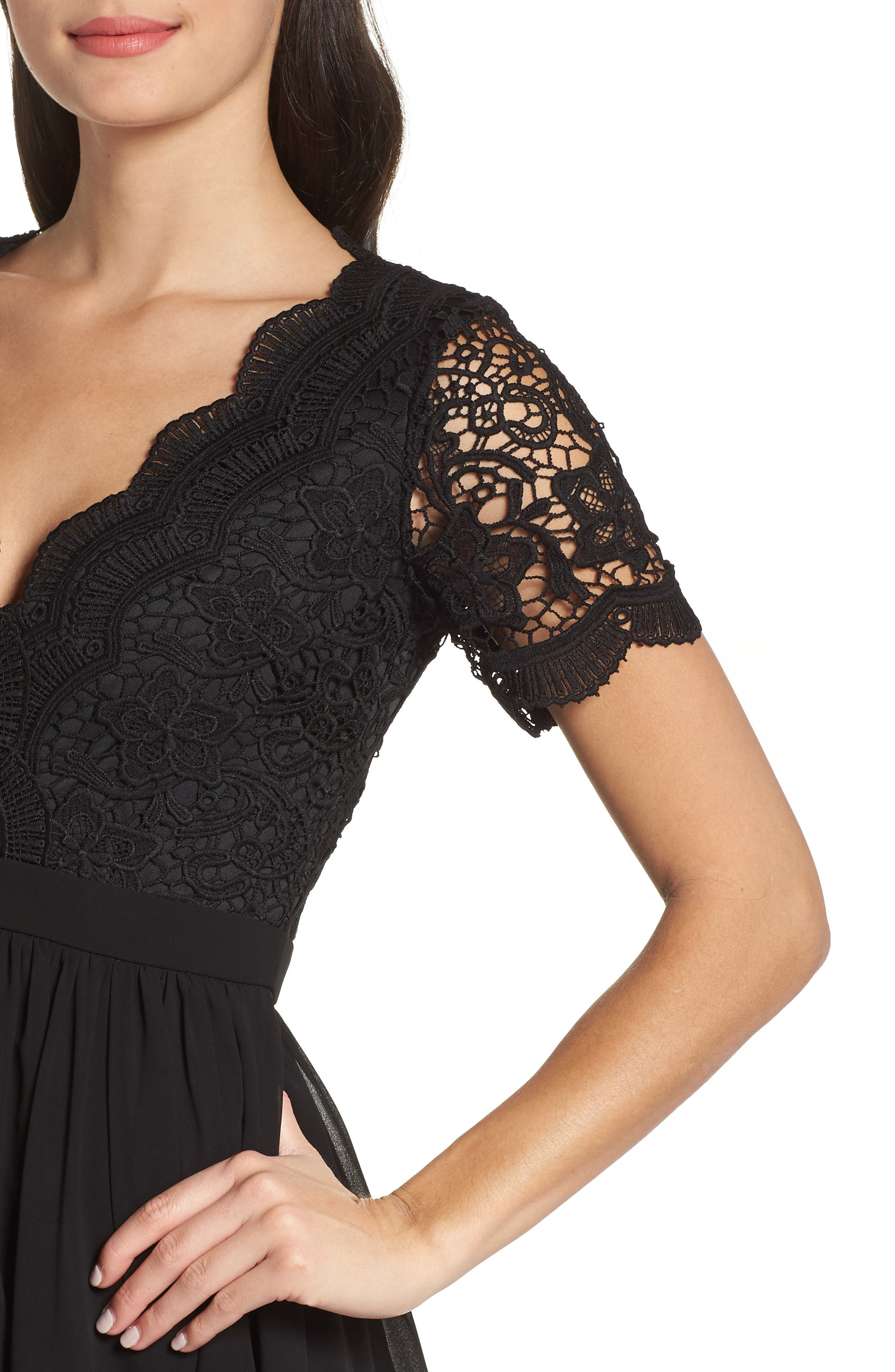 Angel in Disguise Lace & Chiffon Party Dress,                             Alternate thumbnail 4, color,                             BLACK