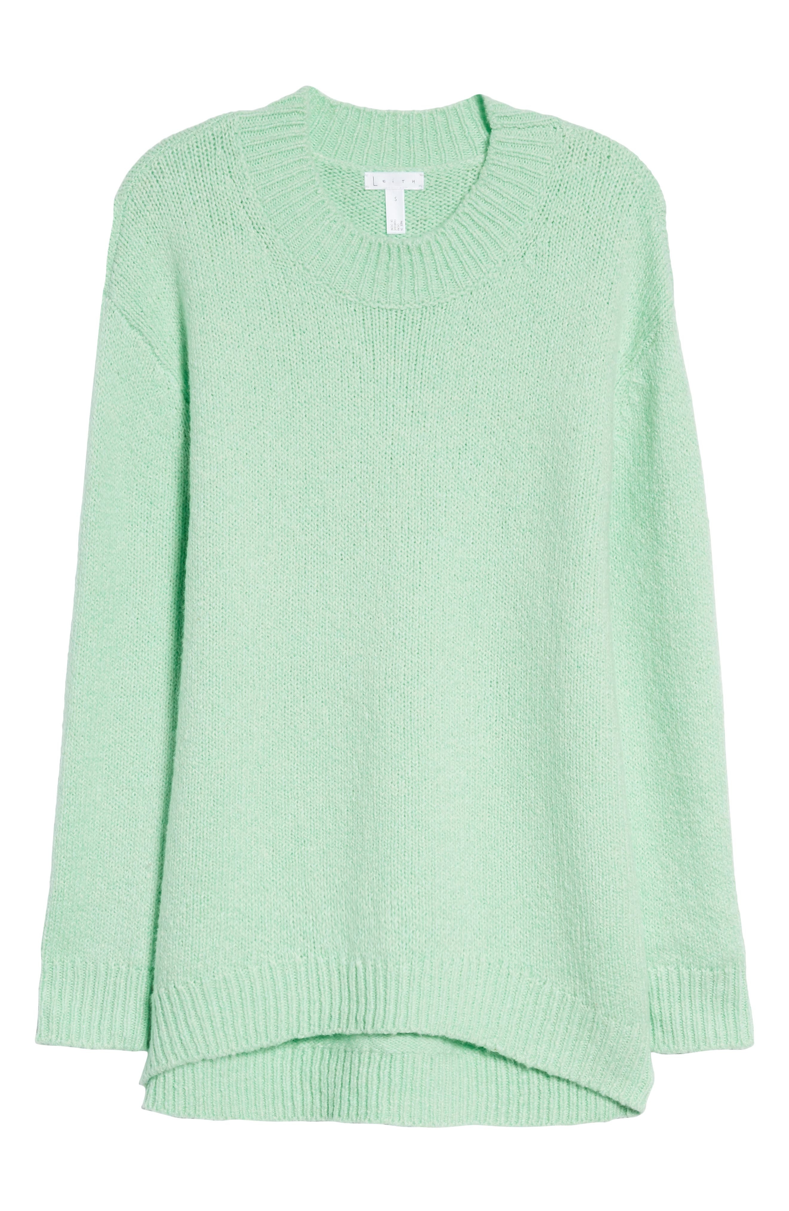 High-Low Sweater,                             Alternate thumbnail 6, color,                             GREEN ASH