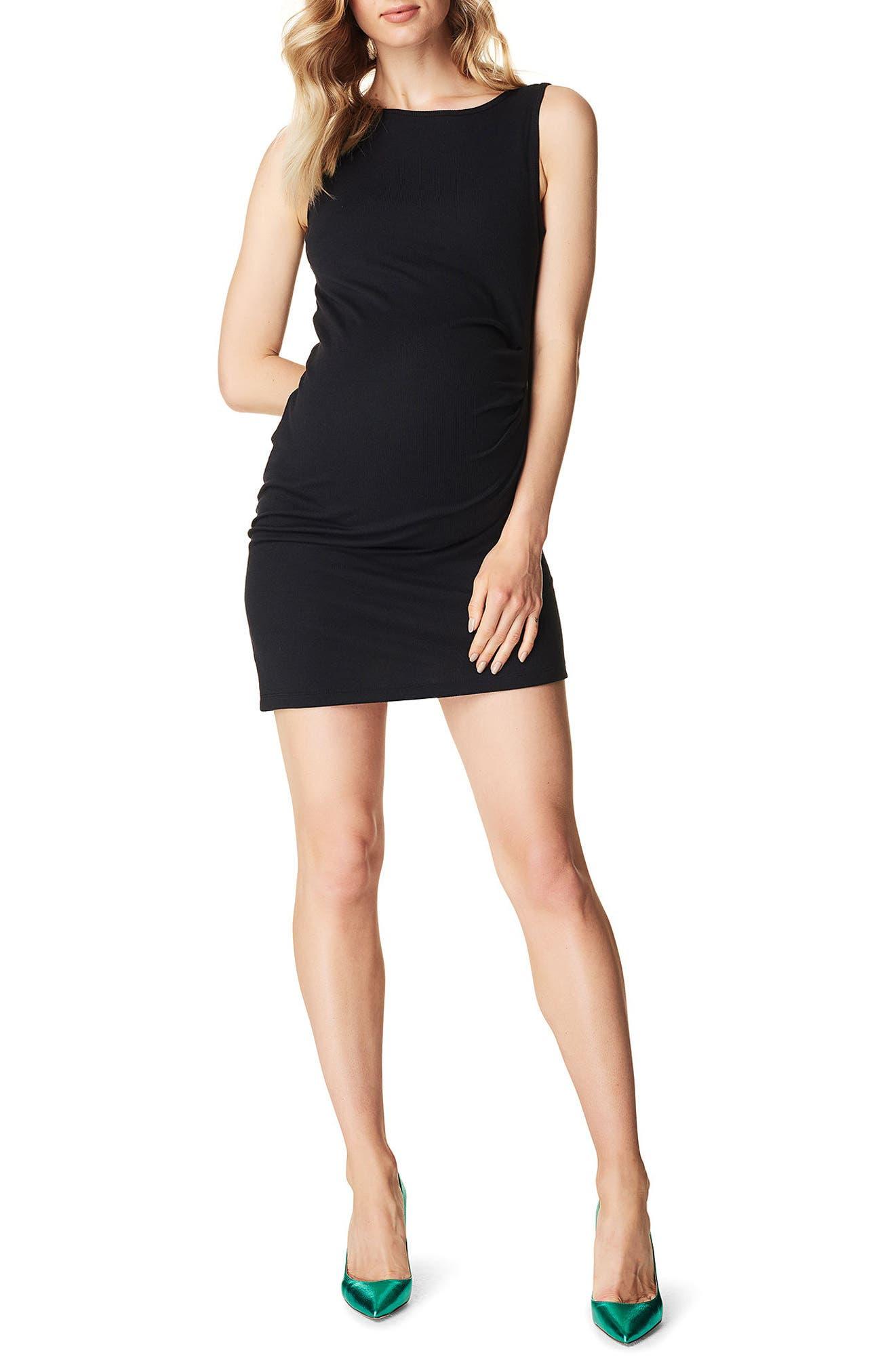 Ribbed Body-Con Maternity Minidress,                         Main,                         color, BLACK